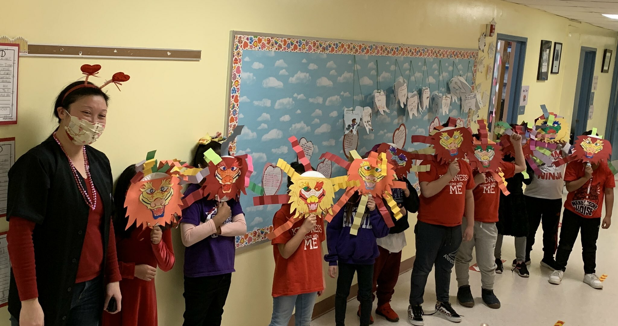 : Stephanie Tam's second grade students at Hampton Bays Elementary School recently celebrated Chinese New Year. They learned about the holiday's traditions, created Chinese dragons and held a parade in their classroom.