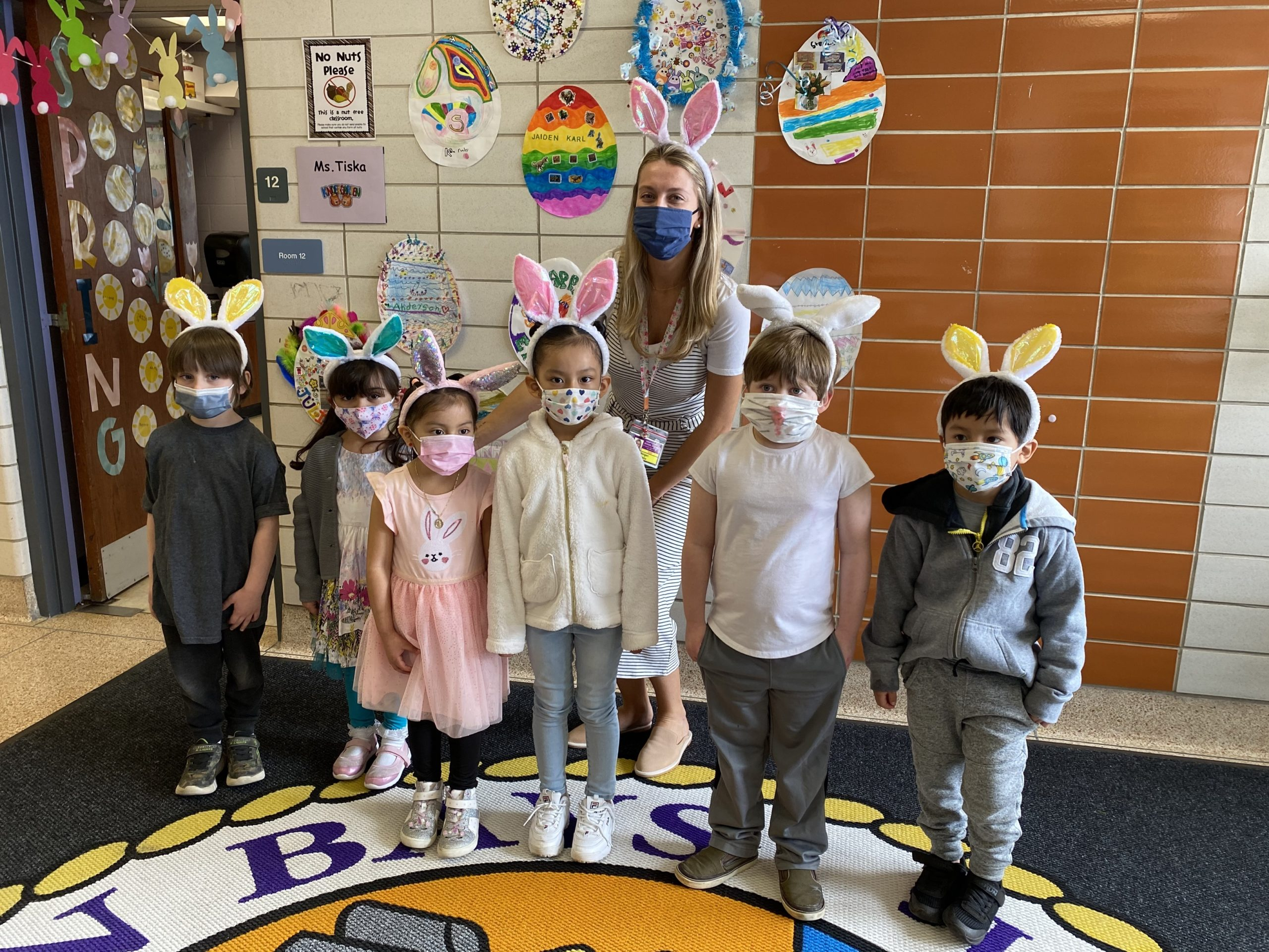The little bunnies in Morgan Tiska's kindergarten class at Hampton Bays Elementary School were treated to an egg hunt on March 25. Out in the warm sun, the kindergartners searched their school's grounds for colorful eggs, which they placed in paper bags that they had decorated for the occasion.
