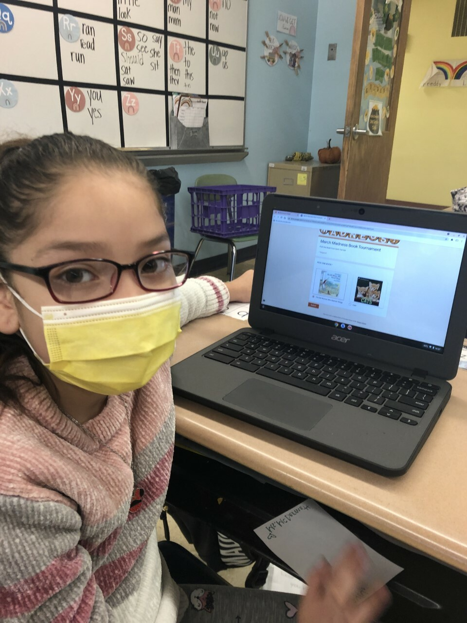 """Erin McDermott's class at Hampton Bays Elementary School recently wrapped up a March Madness Book Tournament. Throughout the month, the students read, discussed and voted on 75 books that were narrowed down to a final winner: """"Cats"""" by Seymour Simon."""