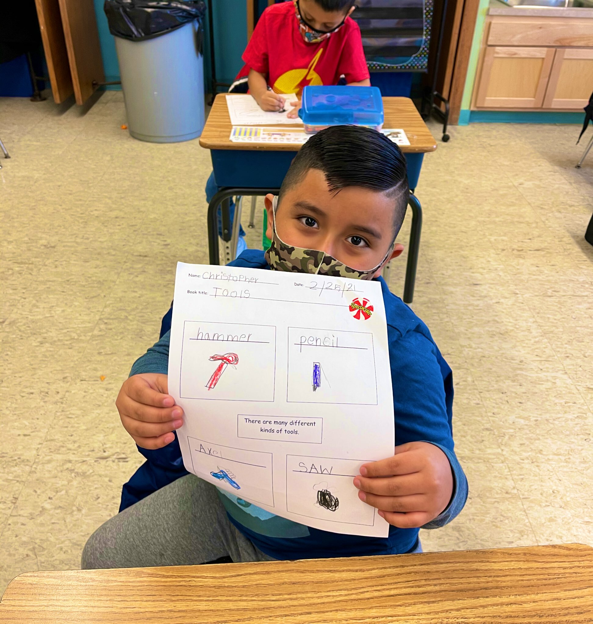 As part of a nonfiction reading unit, Lauren Mikelinich's first graders at Hampton Bays Elementary School recently learned about different tools and how they are used around the world. The students took part in a number of activities, including drawing and writing about the various tools.