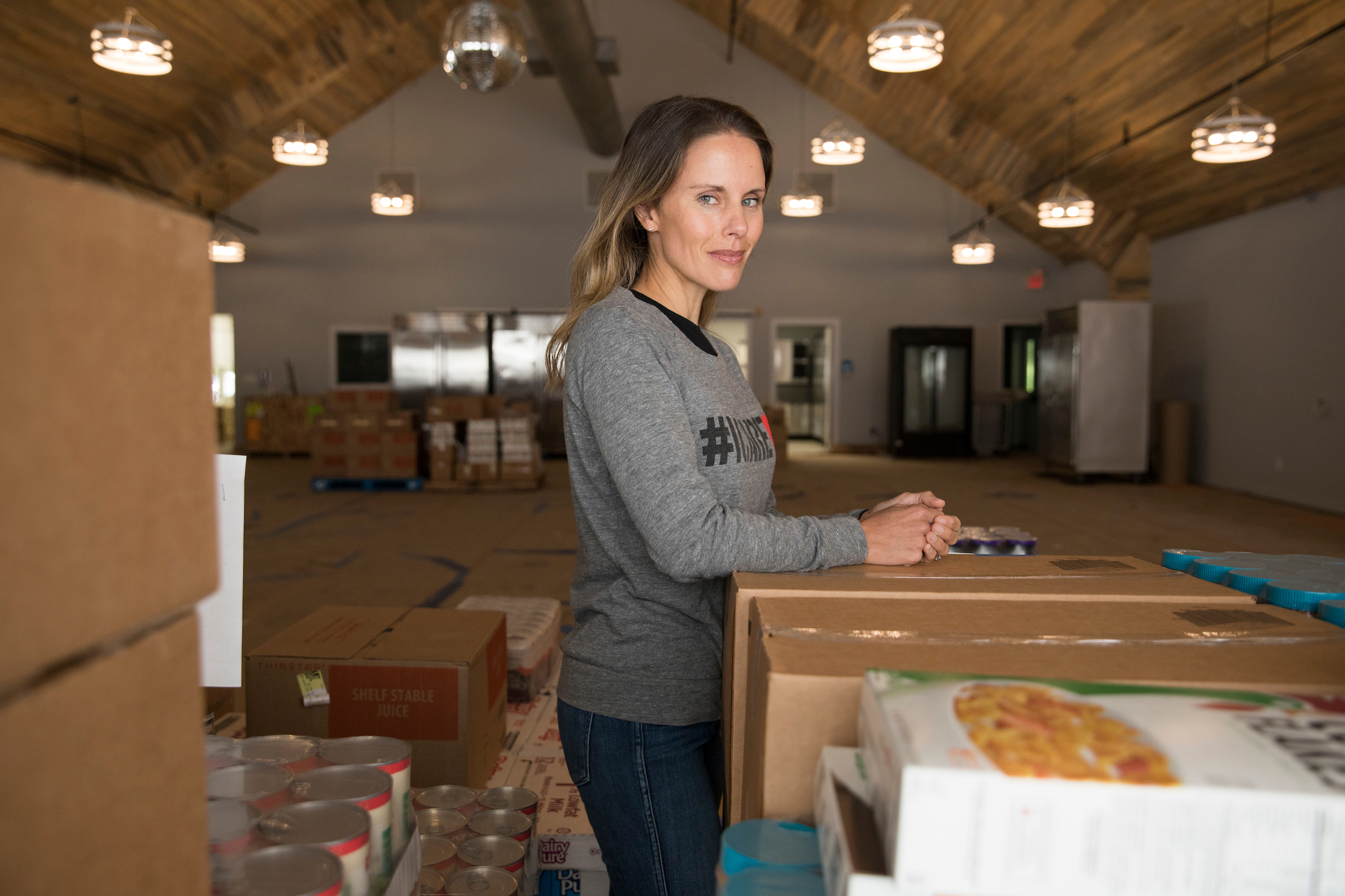 Marit Molin at JBJ Soul Kitchen Food Bank, which partnered with her organization, Hamptons Community Outreach.  LORI HAWKINS