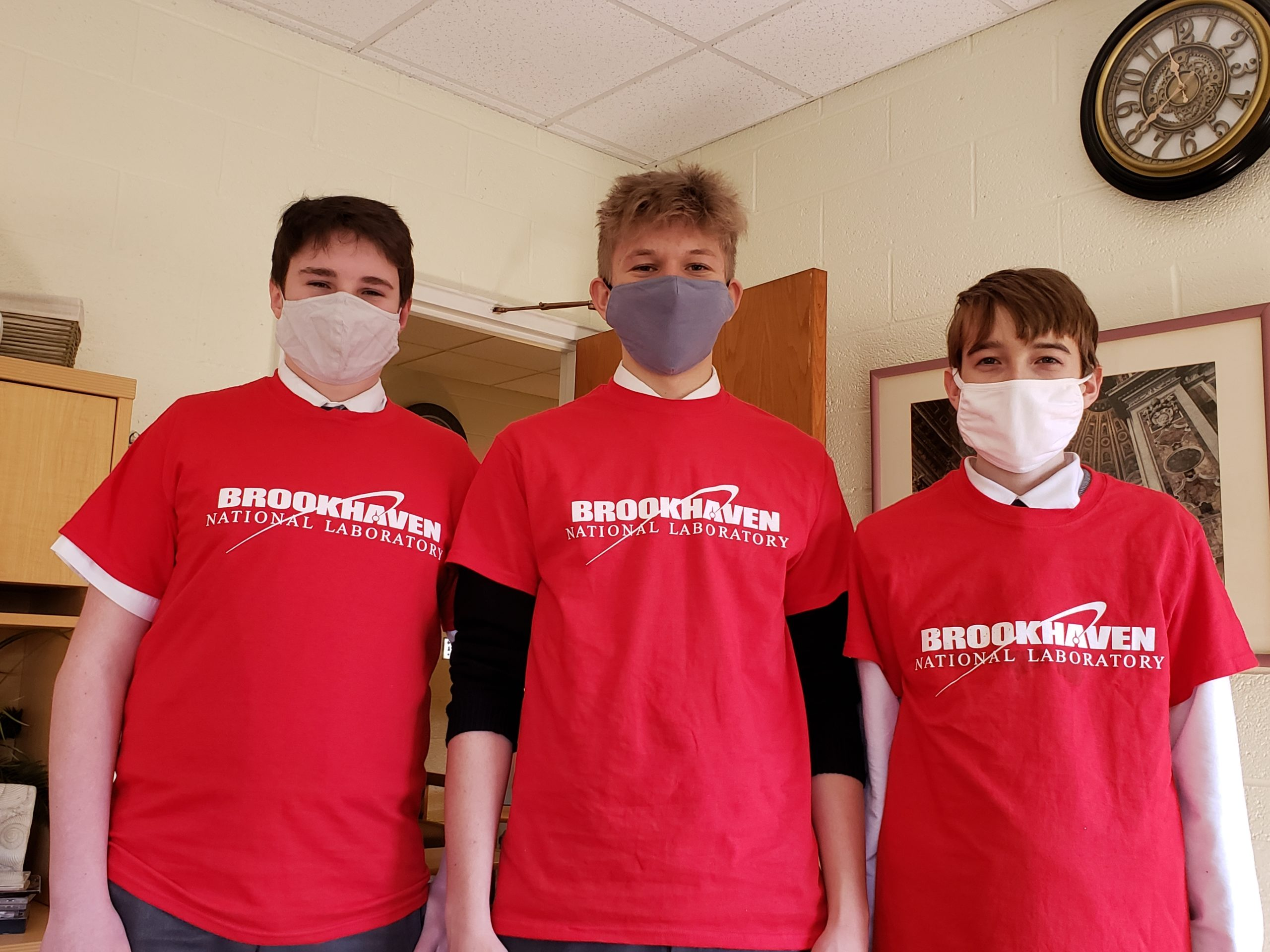 Jack Leonard, Christian DSuggal and Will O'Leary, three of the Prep Science students at Our Lady of the Hamptons Catholic School in Southampton recently completed at the Brookhaven Lab Science Bowl.