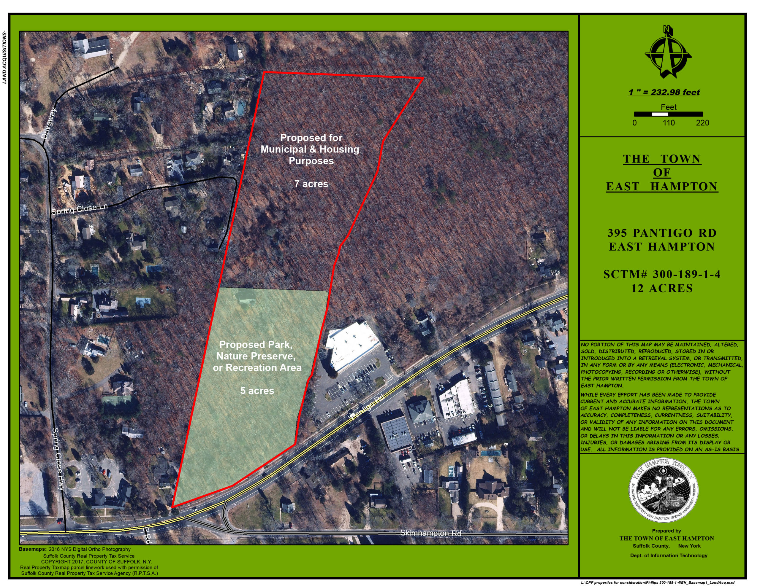 The town hopes to use about half of the 12 acres of land it purchased in 2019 off Pantigo Road for affordable housing, while leaving the other half as open space.