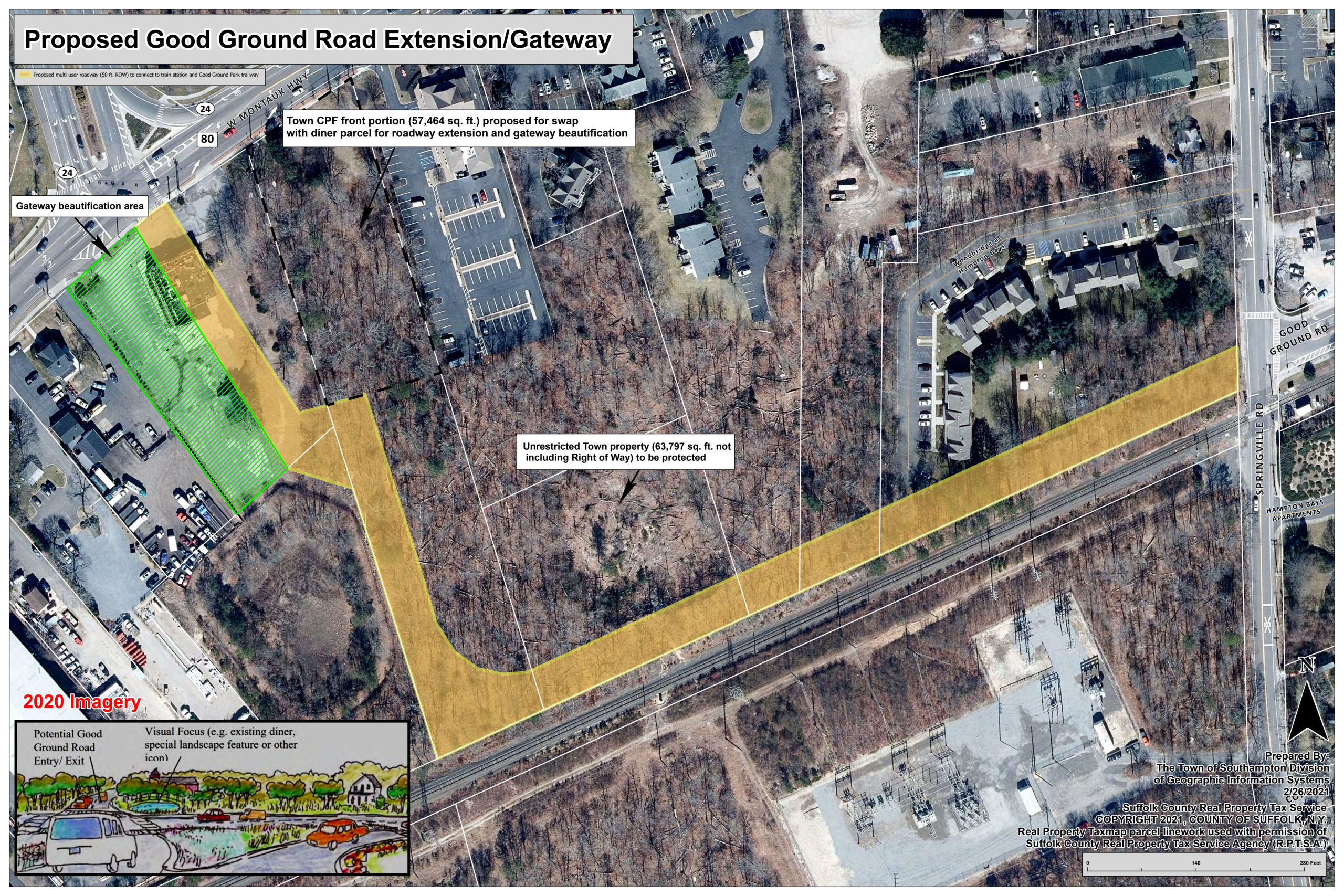 The proposed Good Ground Road Extension.   COURTESY SOUTHAMPTON TOWN