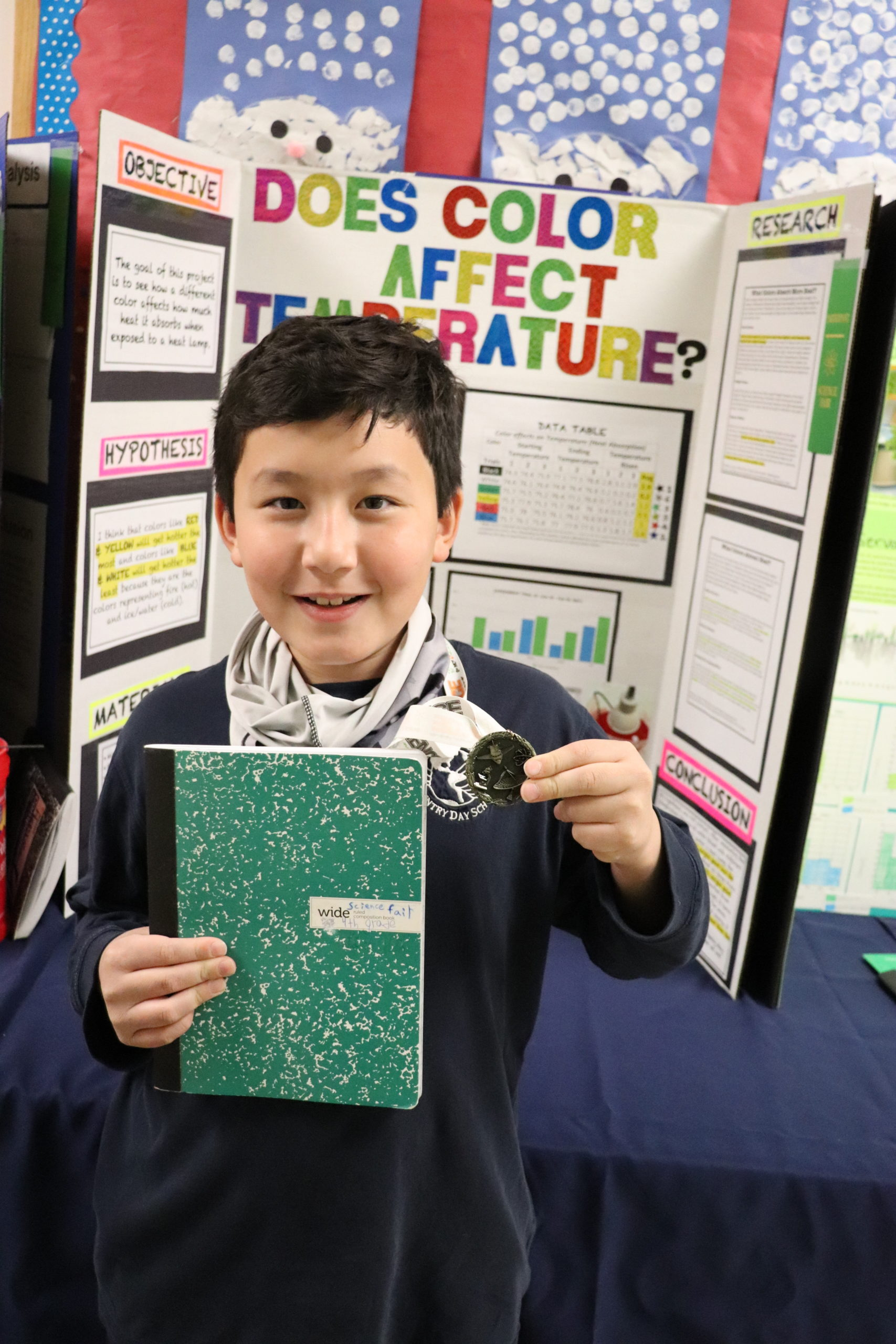 Fourth-grade student, Dylan Pouteau, poses with his first-place medal in front of his Raynor Country Day School Science Fair project.