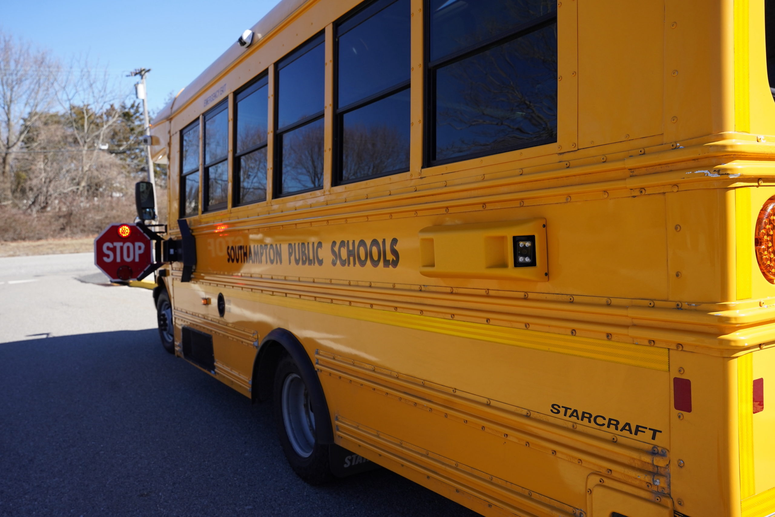 Southampton school buses now feature cameras to deter motorists from passing a stopped bus.