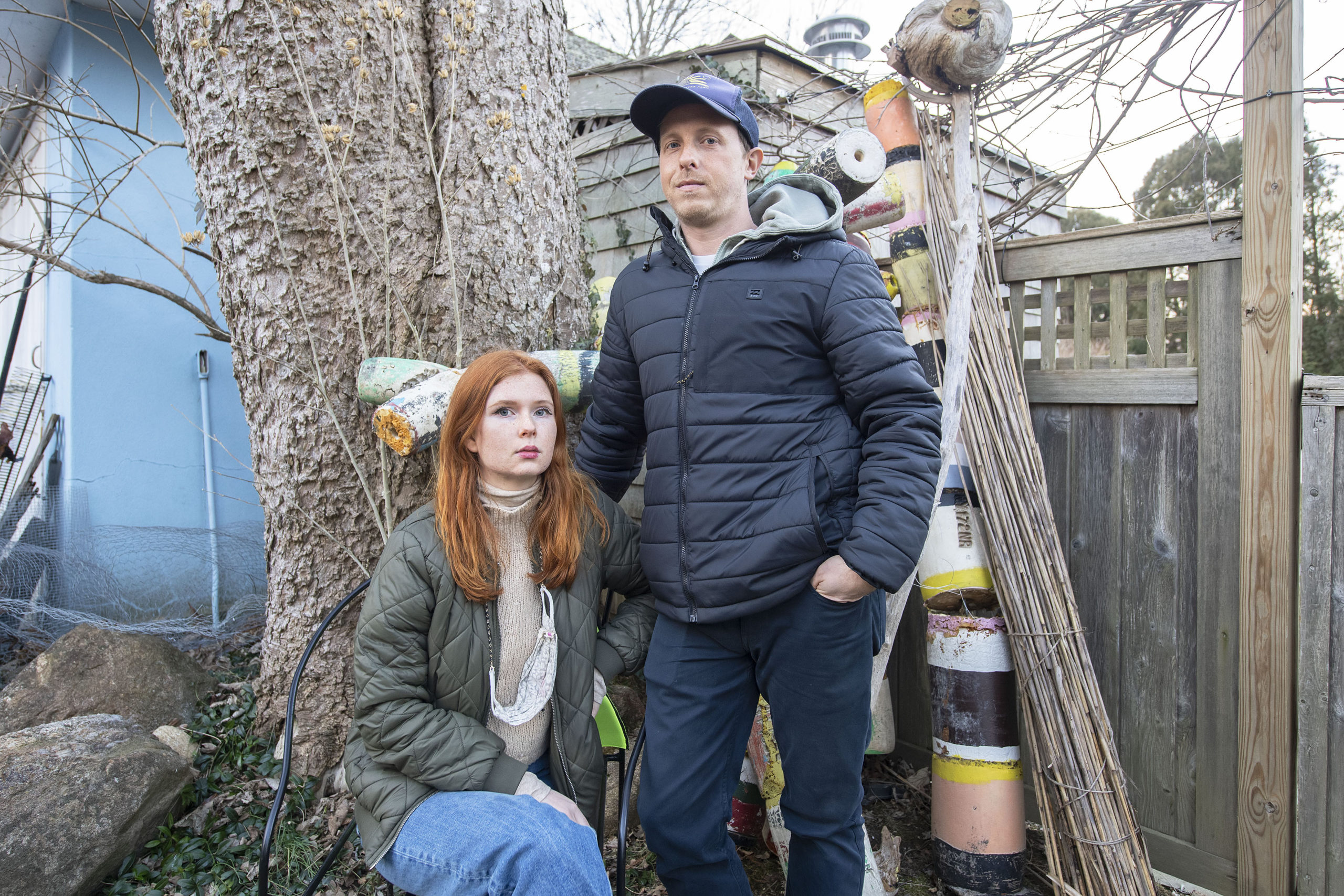 Scott Bluedorn and his fiancée, Rowan Hausman, at their winter rental in East Hampton.