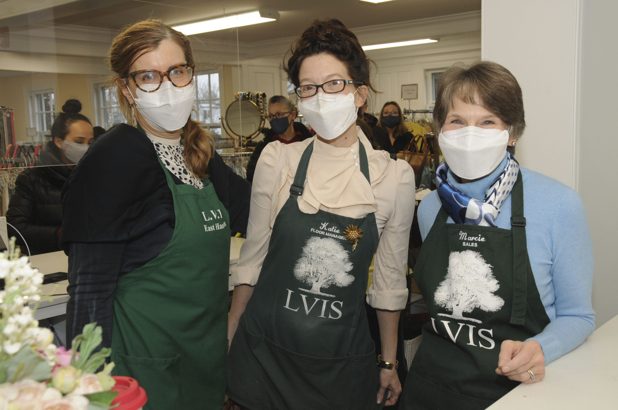 Despite the challenges of the pandemic era, the Ladies' Village Improvement Society of East Hampton held their annual Spring Opening of The Shops At LVIS on Saturday. Left to right, Annie Browngardt, Katie Kulp and Marcie Reed.    RICHARD LEWIN