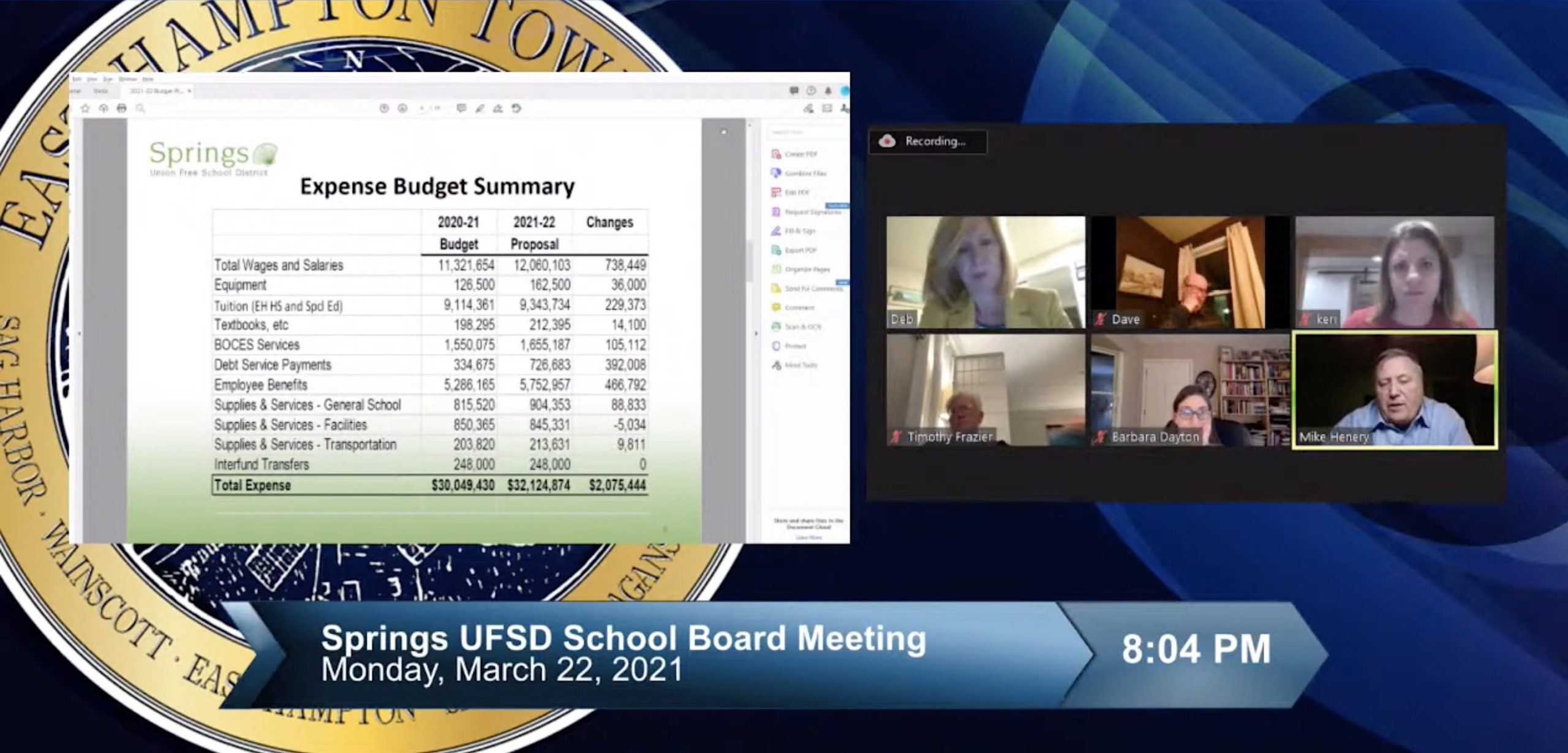 Springs School Business Manager Michael Henery unveils the project budget for the 2021-22 school year during the district's third budget workshop meeting March 22.