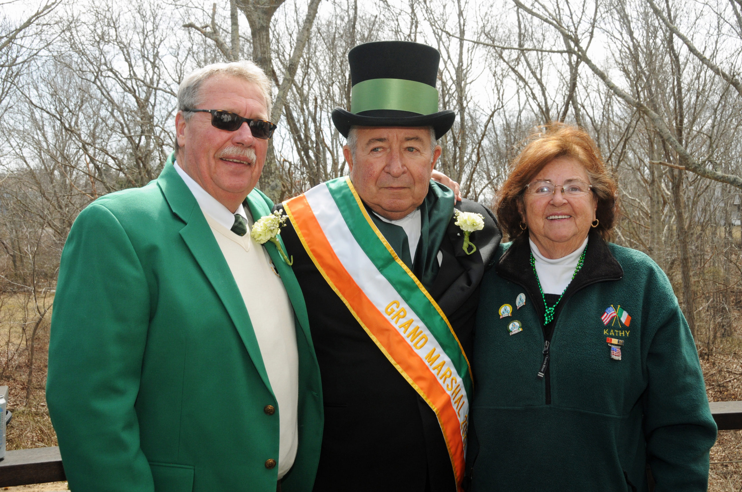 Once again, due to COVID-19, the Montauk Friends of Erin Parade was cancelled, but former parade Grand Marshals Ed Ecker, Jr., Charles Morici, Sr., and Kathy Keller and friends got together for a small gathering on St. Patrick's Day. RICHARD LEWIN
