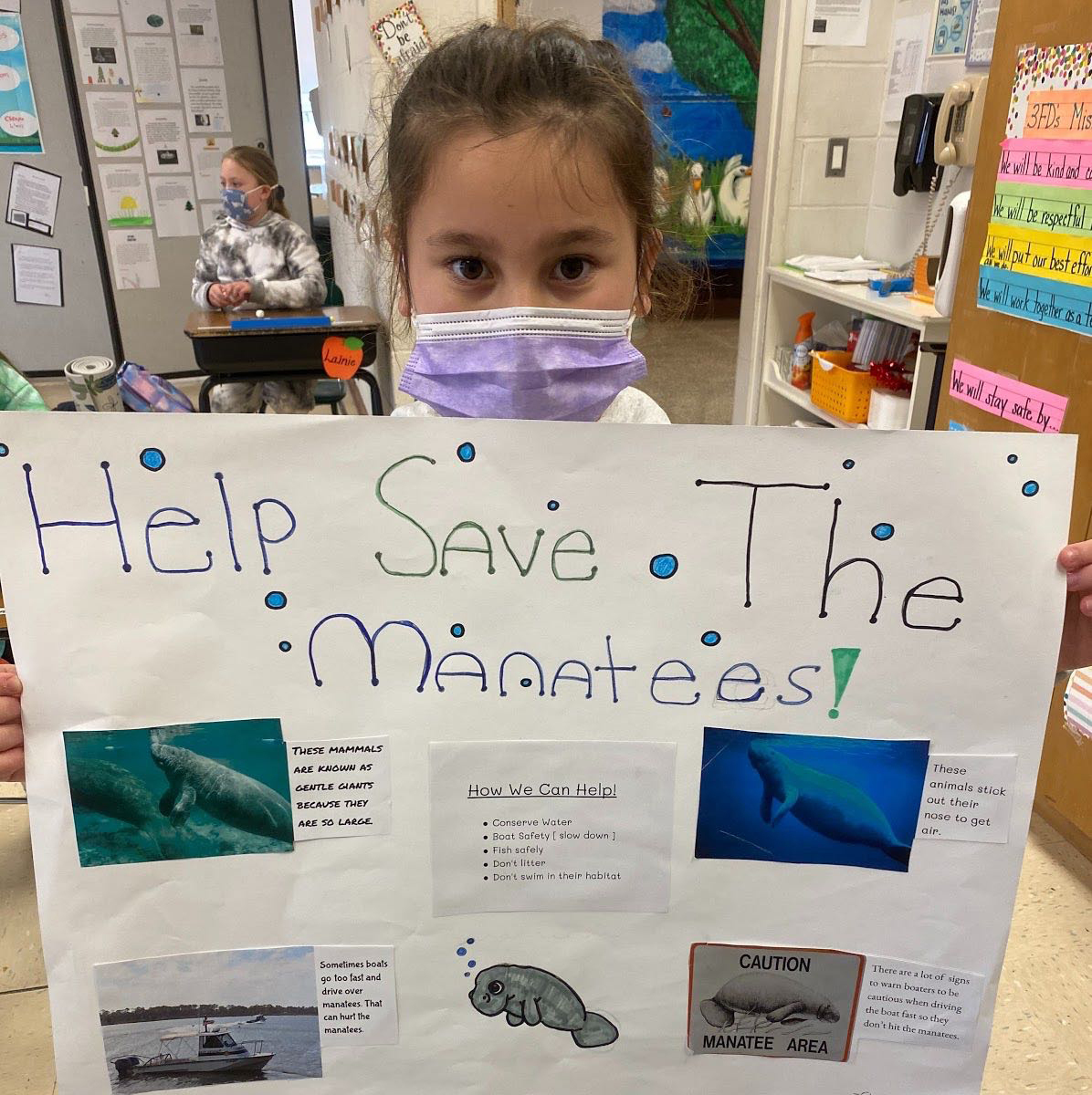 Third graders at Westhampton Beach Elementary School researched a variety of endangered species as part of a recent science lesson. Each student chose an animal on the endangered species list — ranging from sea turtles and bald eagles to whooping cranes — and created a report that they presented to their peers. They were encouraged to compliment each other by writing accolades on sticky notes that they affixed to each presenter's report.    Courtesy of the Westhampton Beach Union Free School District