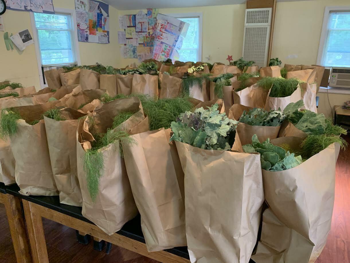 Produce ready for distribution at the Bridgehampton Childcare Center
