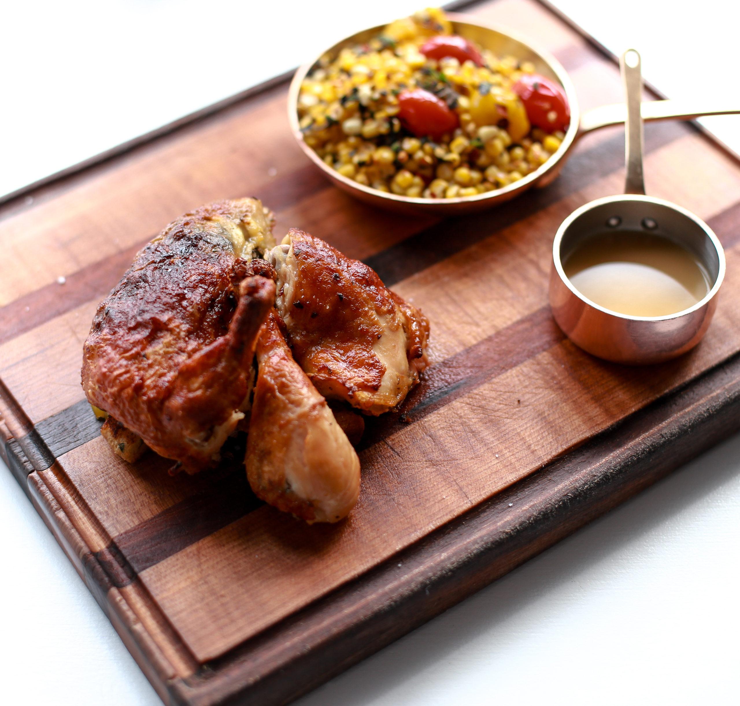 Split roast chicken at Highway Restaurant & Bar