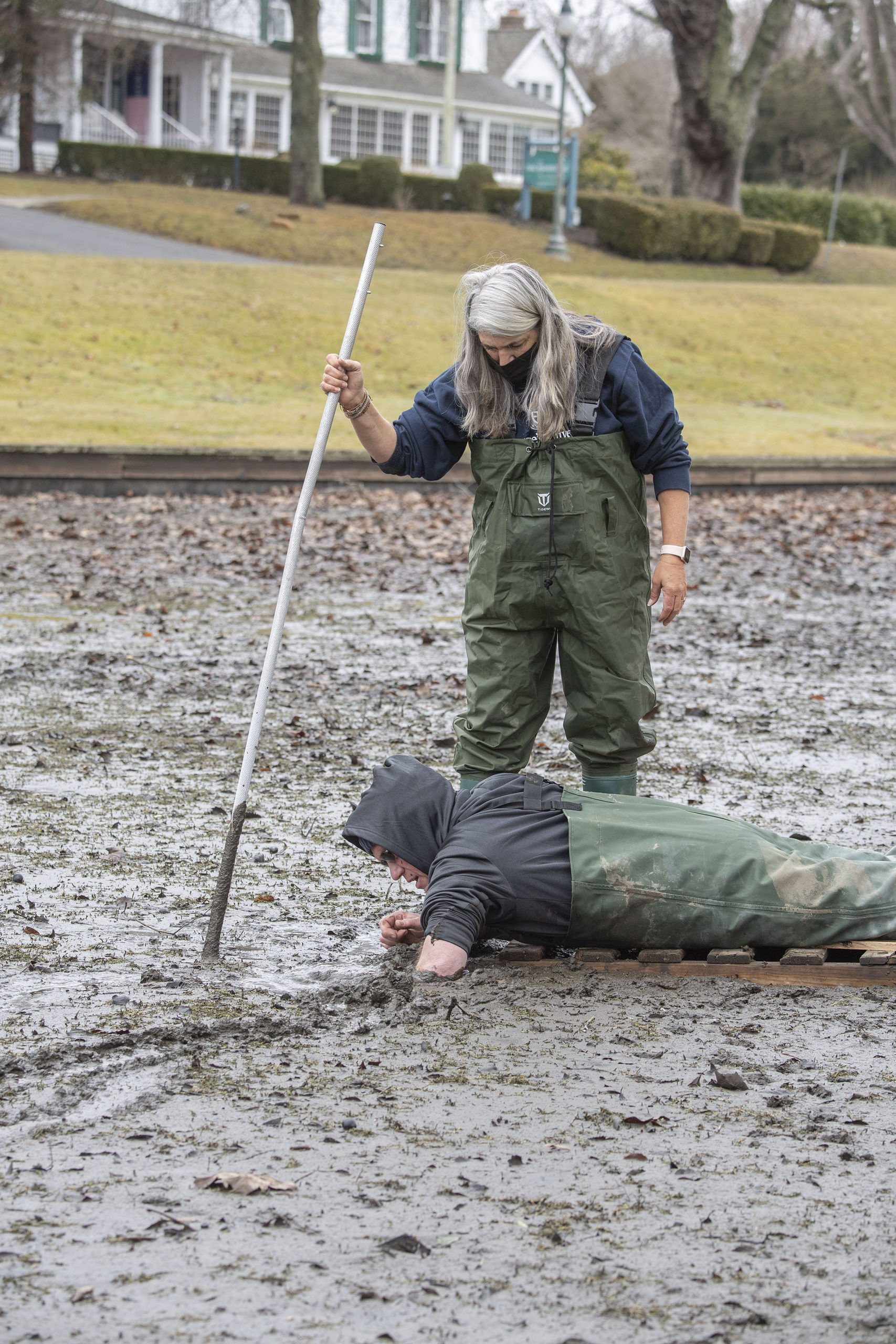Volunteers searched Town Pond in East Hampton for hibernating turtles on Sunday.