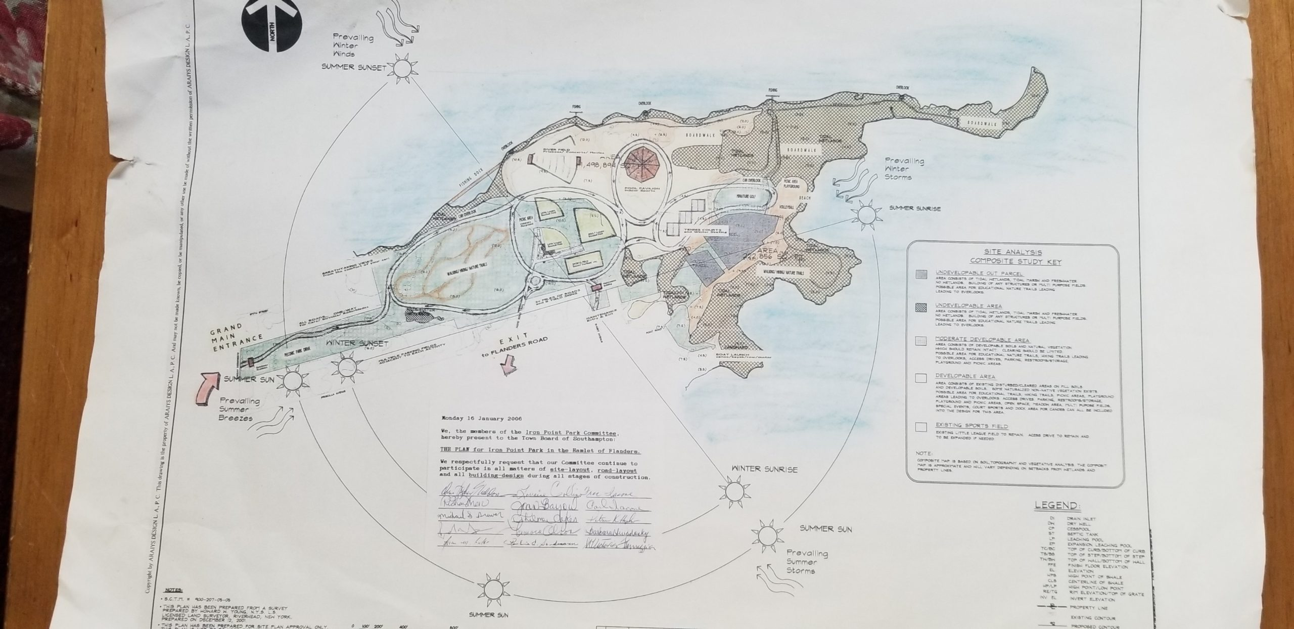 The original map of plans for Iron Point Park.