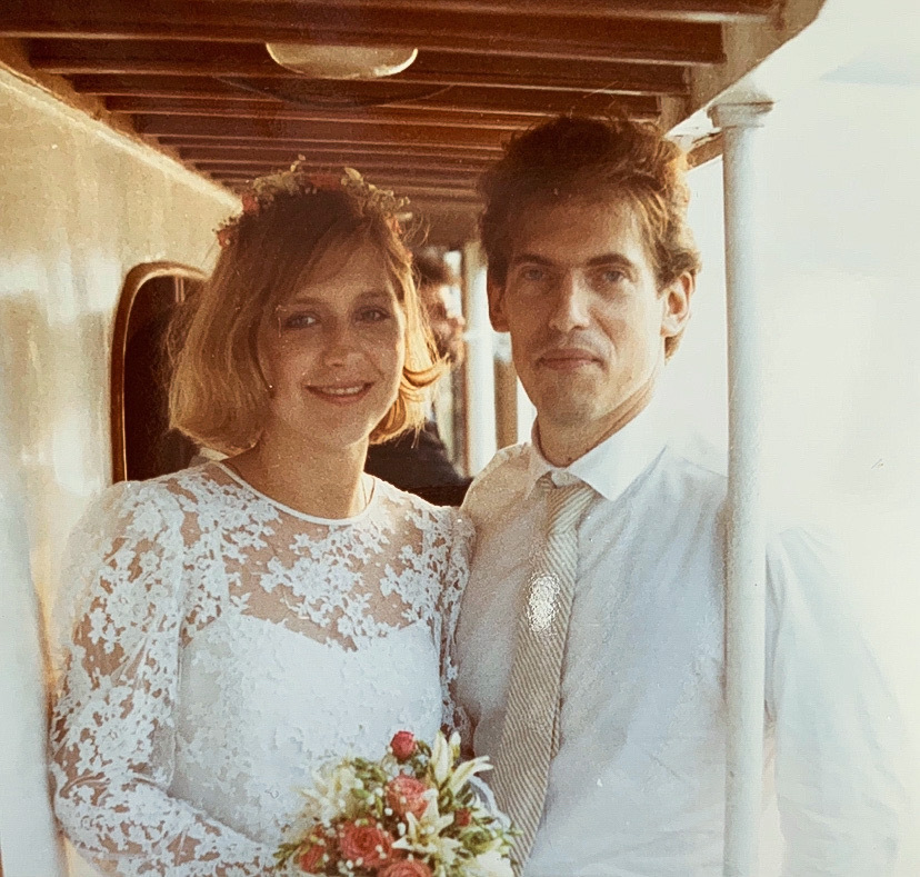 Marissa and Allan Bridge aboard The Virginia in New York City on their wedding day, 1984.
