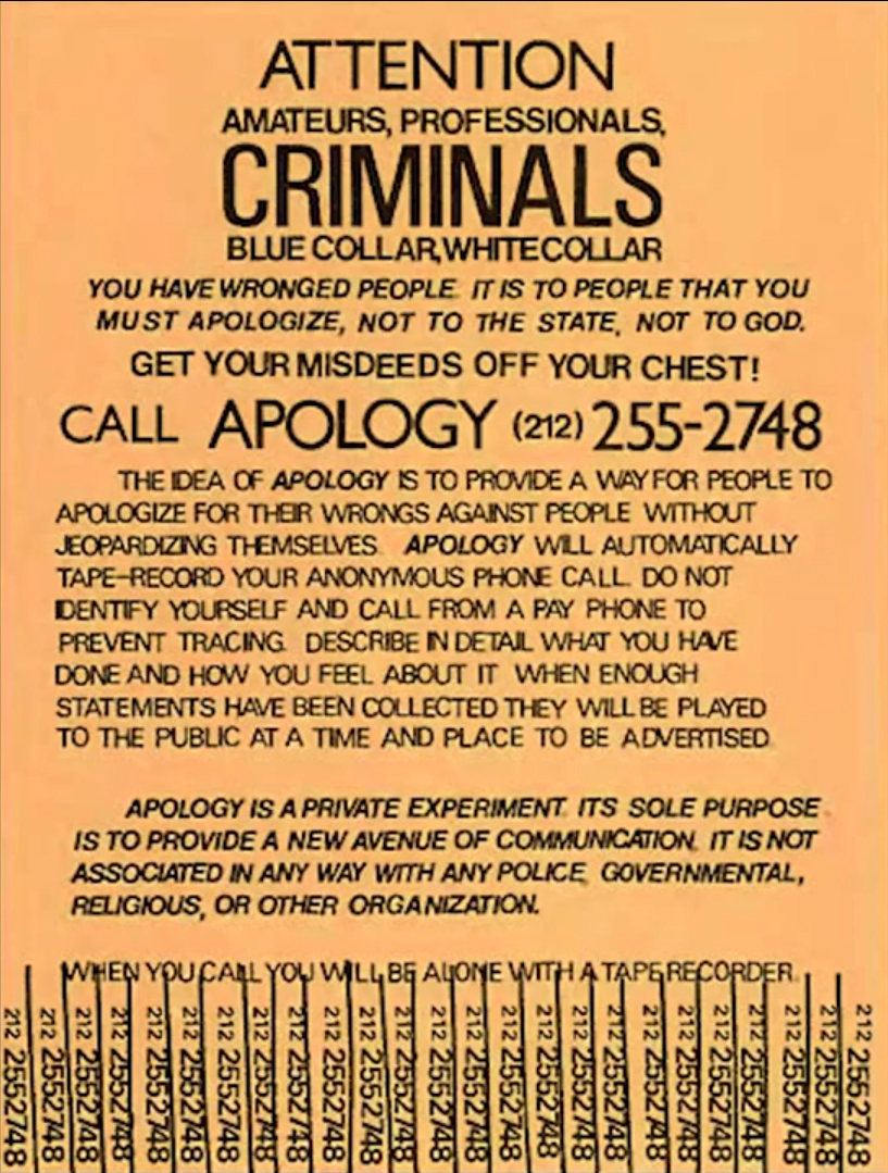 The original Apology Line poster.