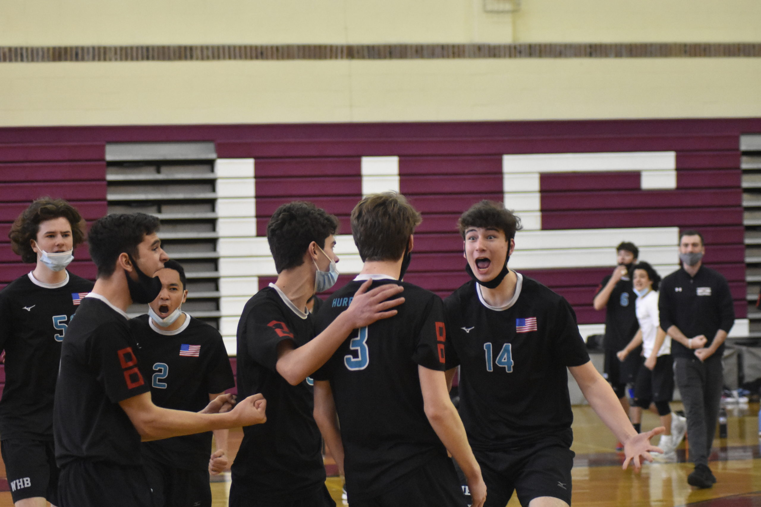 Daniel Haber and the Hurricanes are fired up after winning a tight first set, 28-26, over host Bay Shore. Westhampton Beach wound up taking the match, 3-2, on Thursday.