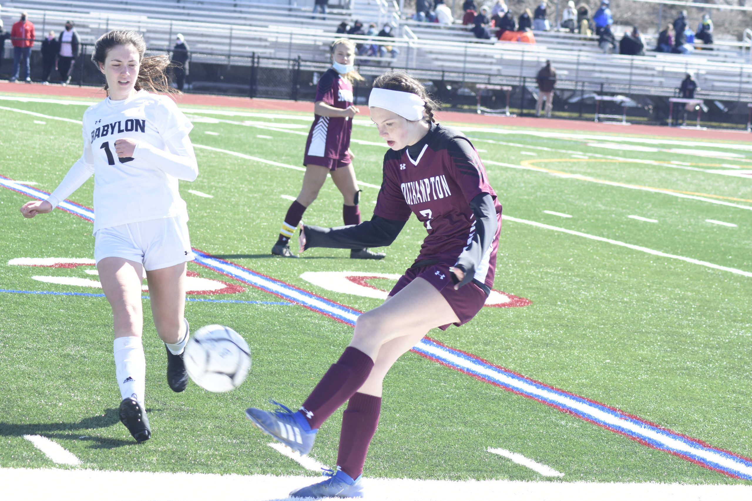 Southampton sophomore defender Hailey Cameron clears the ball.