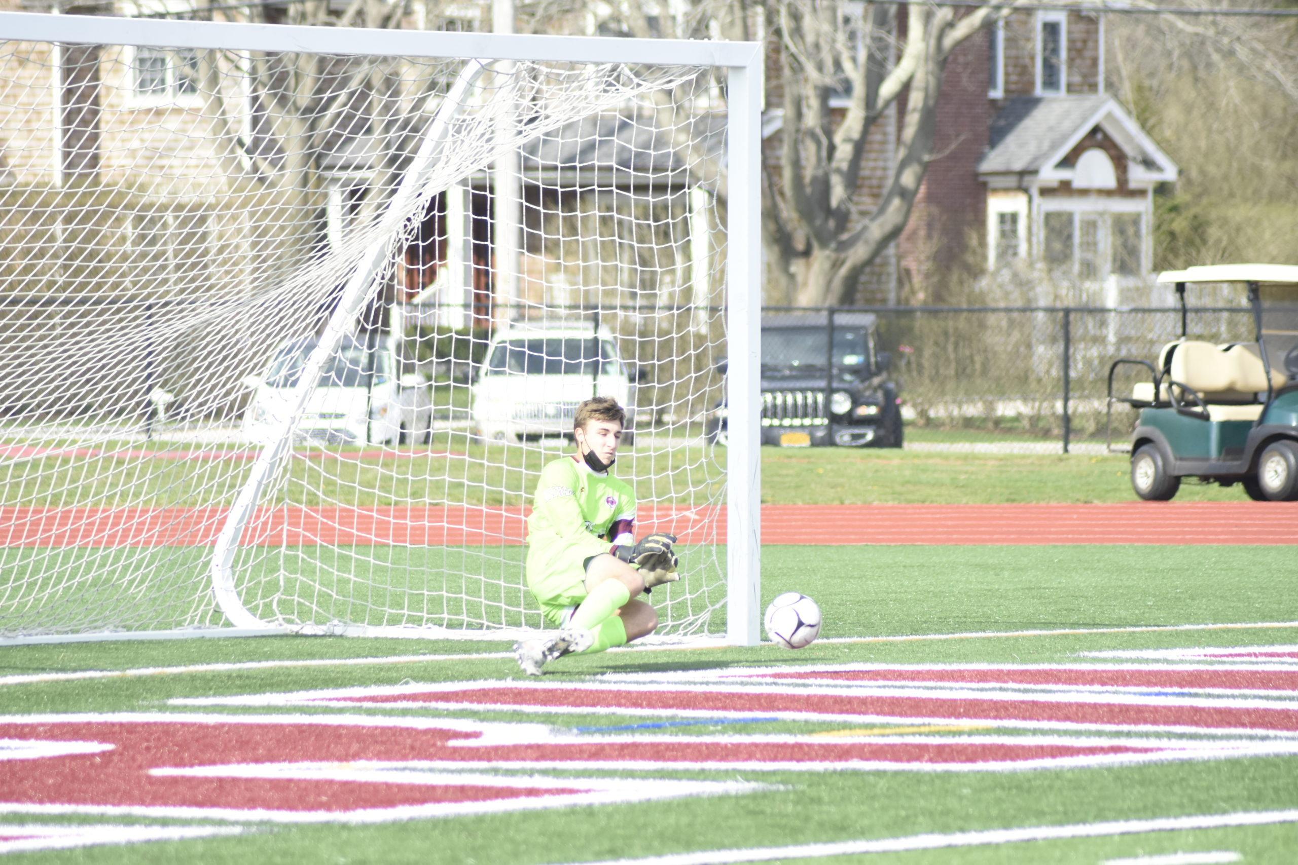 Southampton sophomore goalie Andrew Panza makes a save on a penalty kick early in the first half of Wednesday's game.