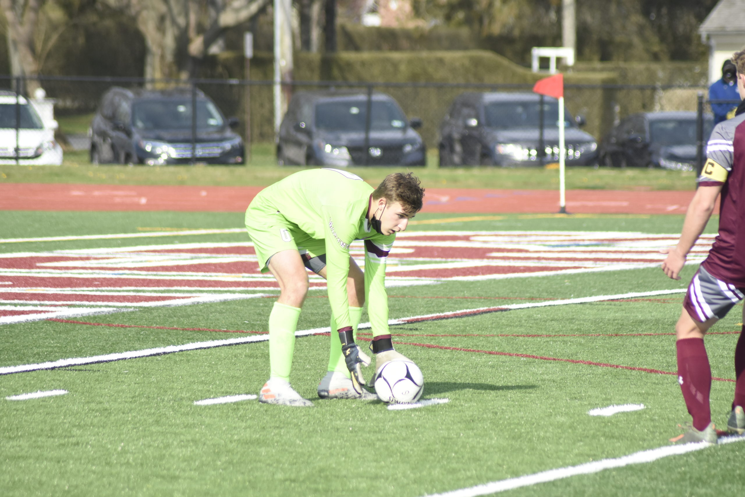 Southampton sophomore goalie Andrew Panza plays a ball that comes into the box.