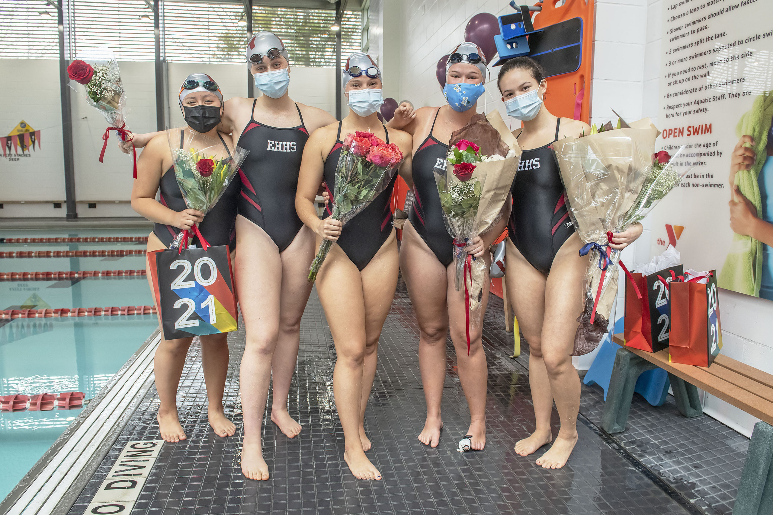 East Hampton-Pierson-Bridgehampton girls swim team seniors, from left, Stephanie Pallchisaca, Kiara Bailey-Williams, Catalina Badilla, Caroline Brown and Nicole Gutierrez.  MICHAEL HELLER
