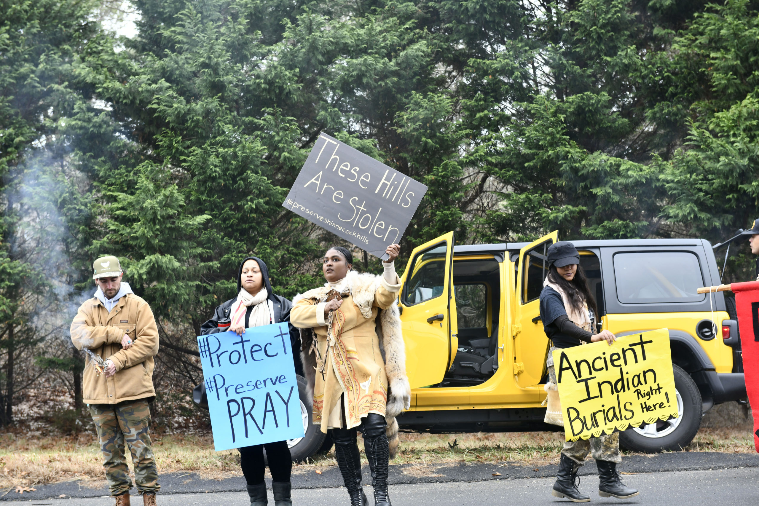 Members of the Shinnecock Nation held a protest in January of 2020 at the site of a home being built in the Sugarloaf area.    DANA SHAW