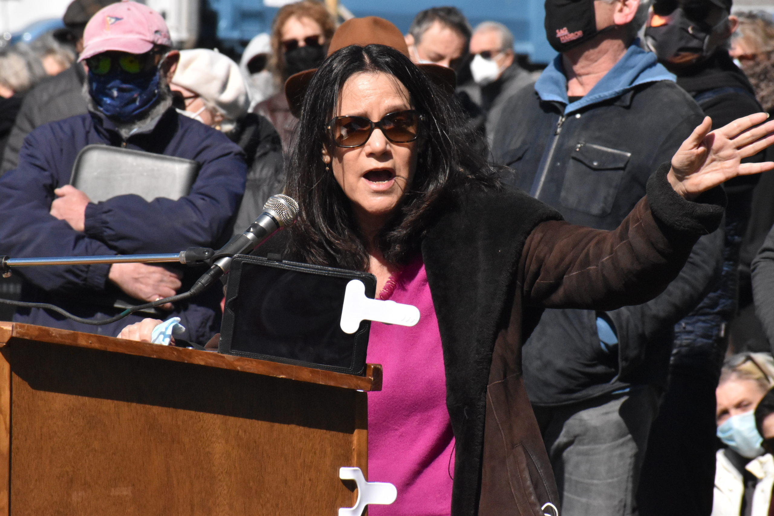 Kathryn Levy spoke forcefully against the proposed Bay Street Theater at a forum held by the Sag Harbor Village Board on Friday. STEPHEN J. KOTZ