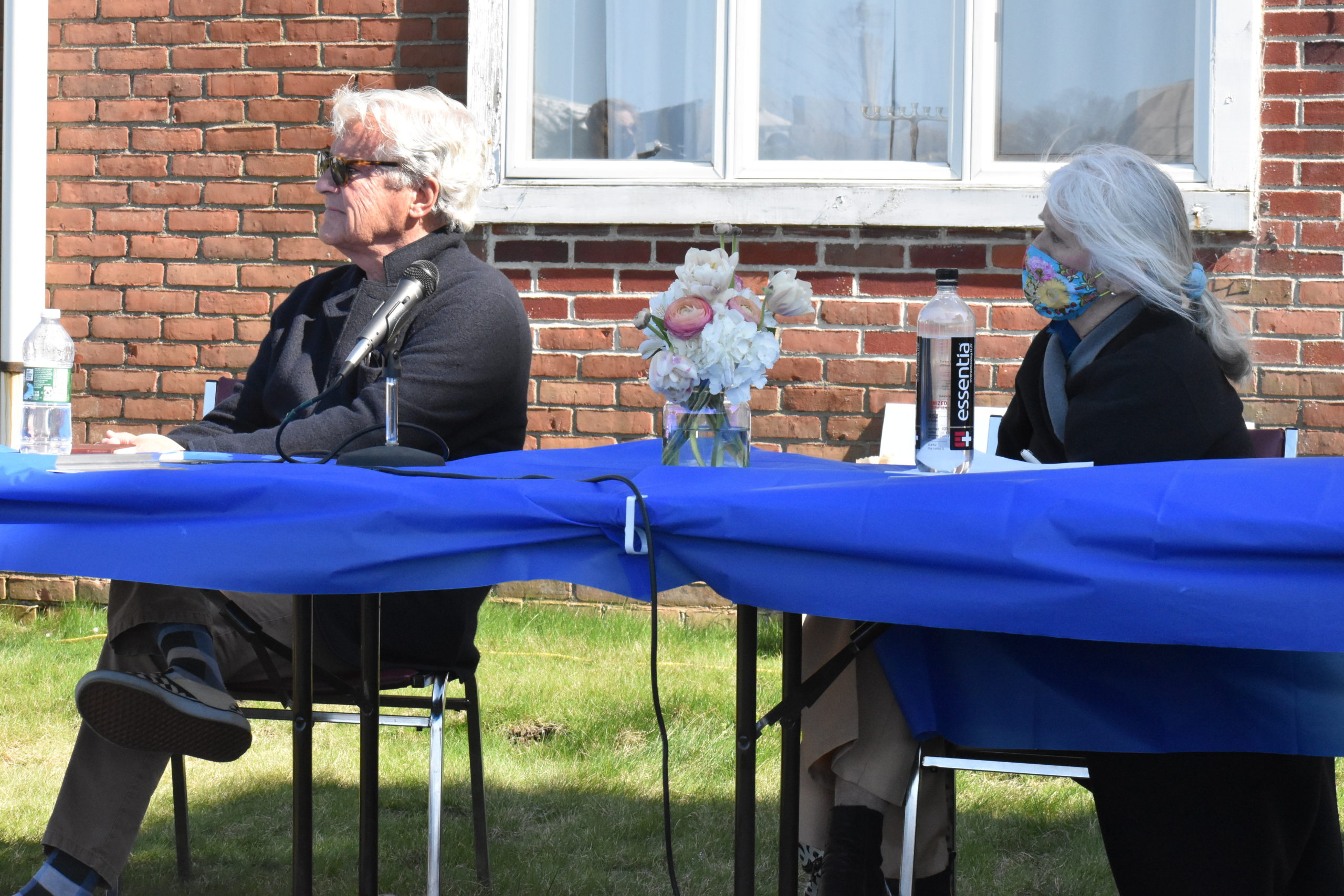 Sag Harbor Trustee James Larocca and Mayor Kathleen Mulcahy listen to comments at Friday's forum on waterfront development. STEPHEN J. KOTZ