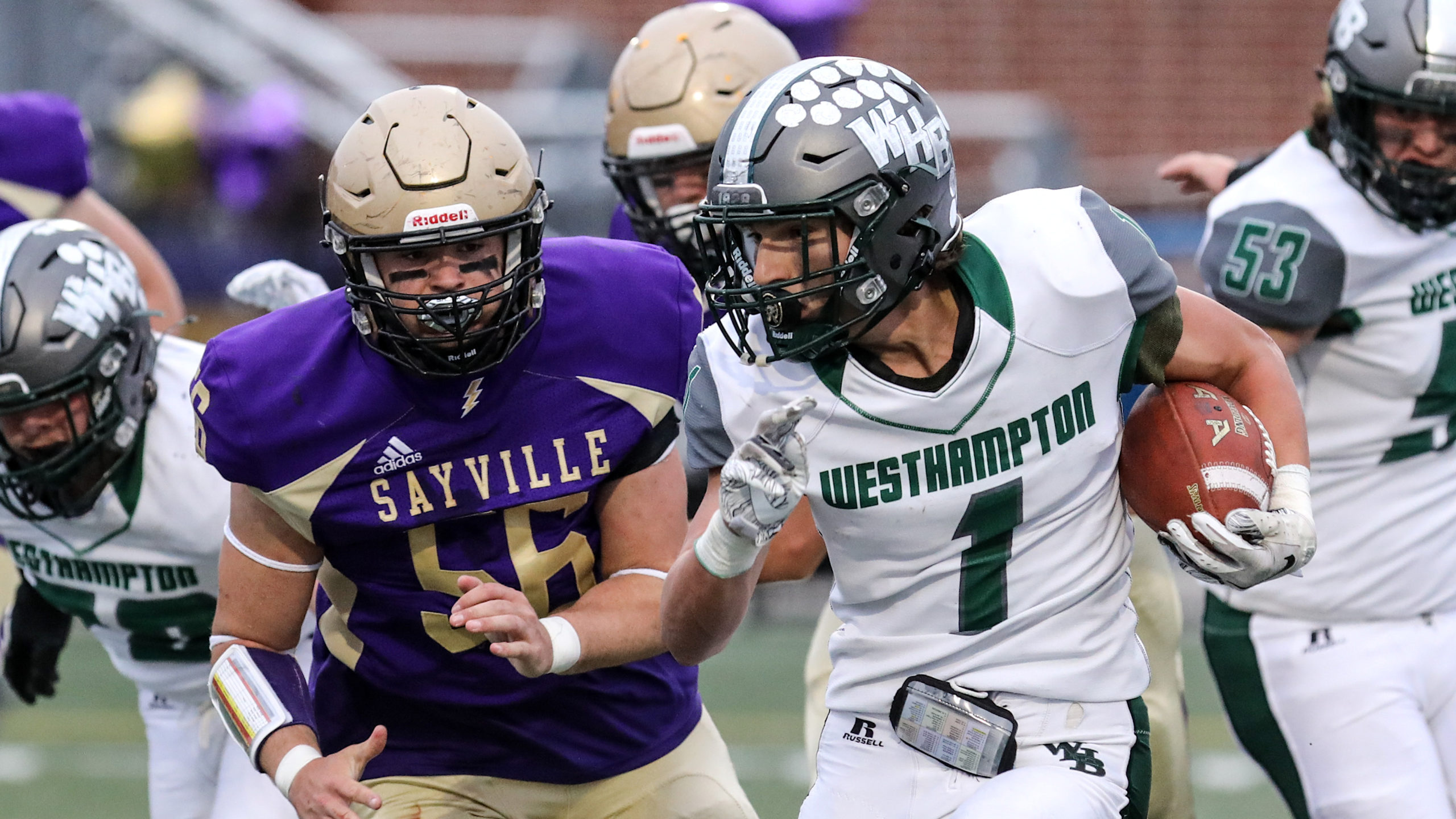 Westhampton Beach running back Deegan Laube finished with 37 yards on 13 carries and had an 81-yard touchdown reception.