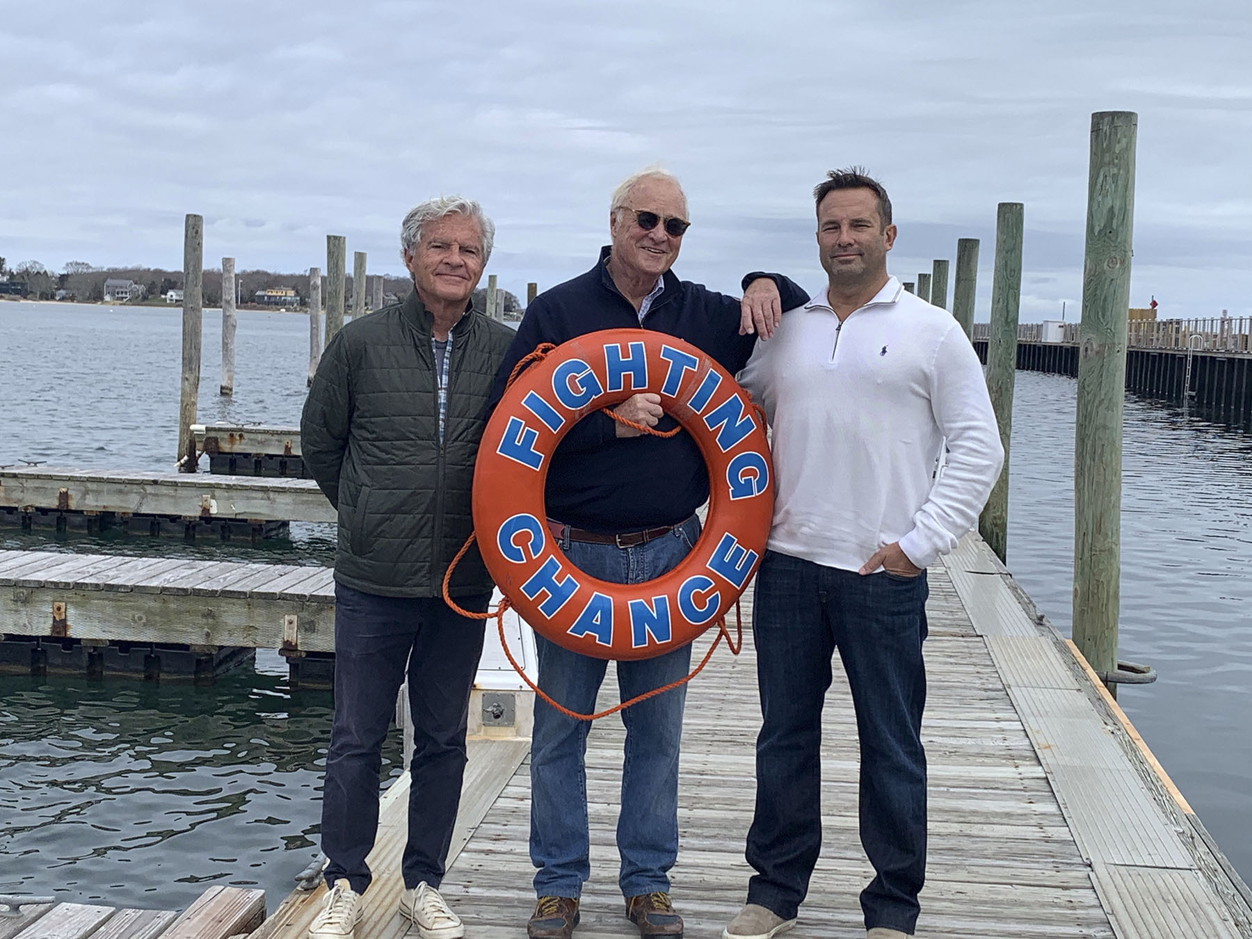 Leaders of the Boaters Against Cancer fundraiser, Village Trustee James Larocca, Fighting Chance founder Duncan Darrow, and lead sponsor Joe Ialacci. NANCY GREENBERG