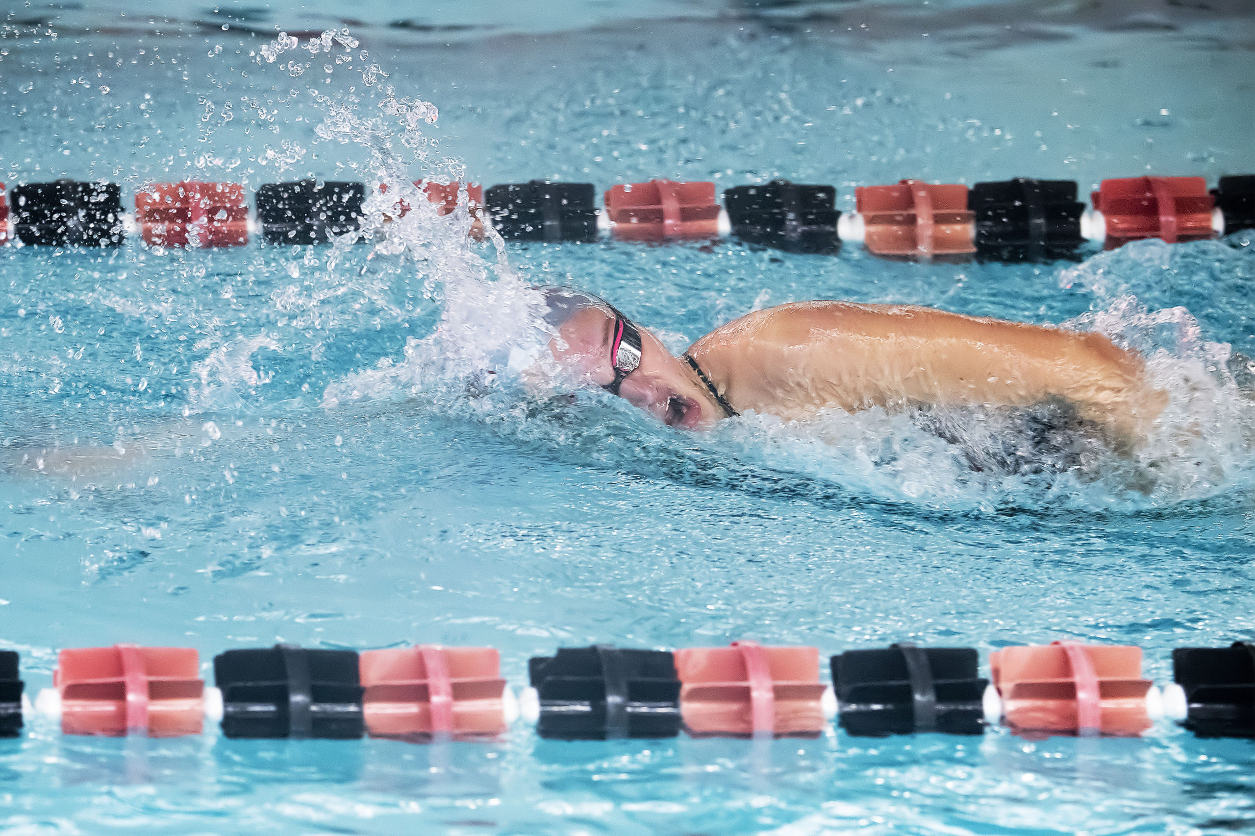 East Hampton's Summer Jones competes in the 200-meter freestyle at the League III Championships against Lindenhurst on Friday.