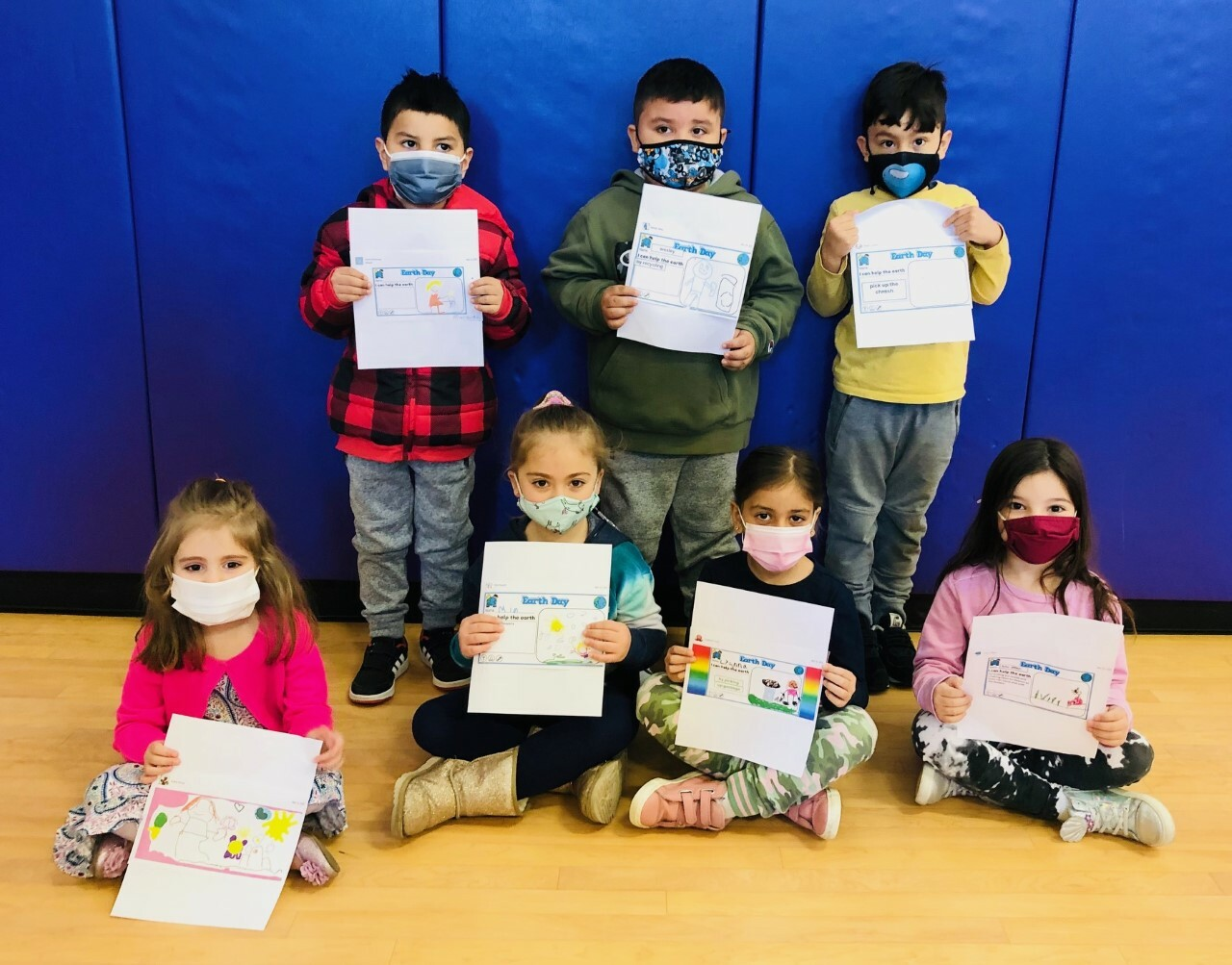 Kindergarteners Andre Chavez, Lyanna Cruz, Evey Kirst, Lulu Liffen, James Reinoso Salazar, Mia Rispoli and Wesley Velez won the Earth Day writing contest for their grade.