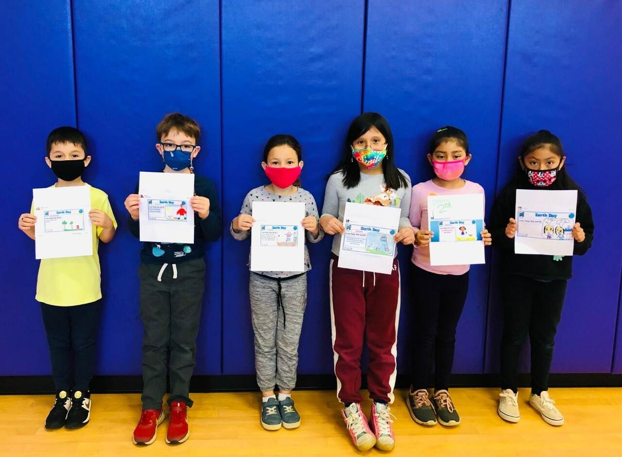 Second graders Alexsander Calanche, Sheyla Gonzalez, William Loudenslager, Brooke McNamara, Briselda Orozco Coronado and Amy Reyes won the Earth Day writing contest for their grade.