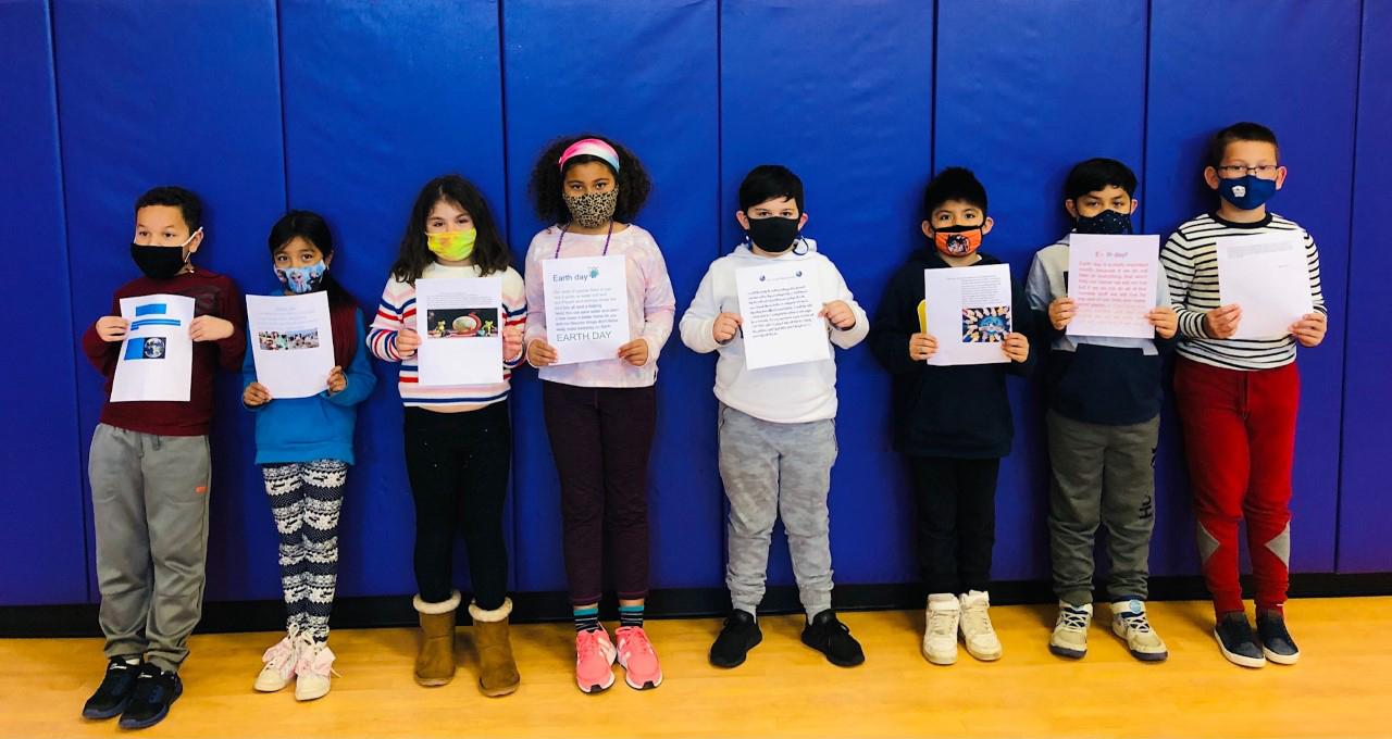Third graders Dylan Bojadzic, Zoe Danna, Gavin Elizondo, Daniel Ferreira, Leo Ferrufino Guillen, Marlynn Huerta-Potrero, Maya Ollenu and Alex Osofsky won the Earth Day writing contest for their grade.