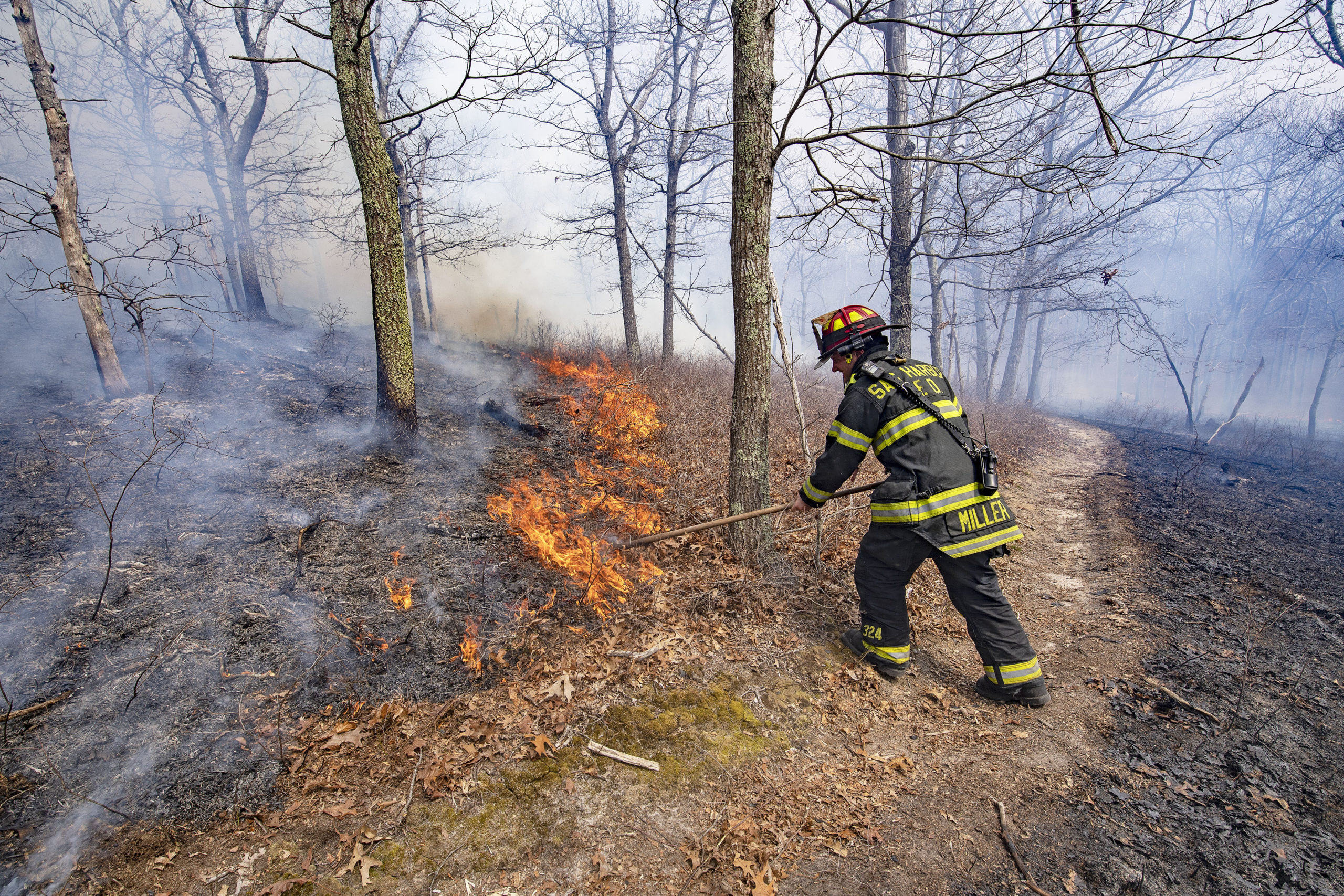 At the brush fire in Wainscott Woods Saturday afternoon.