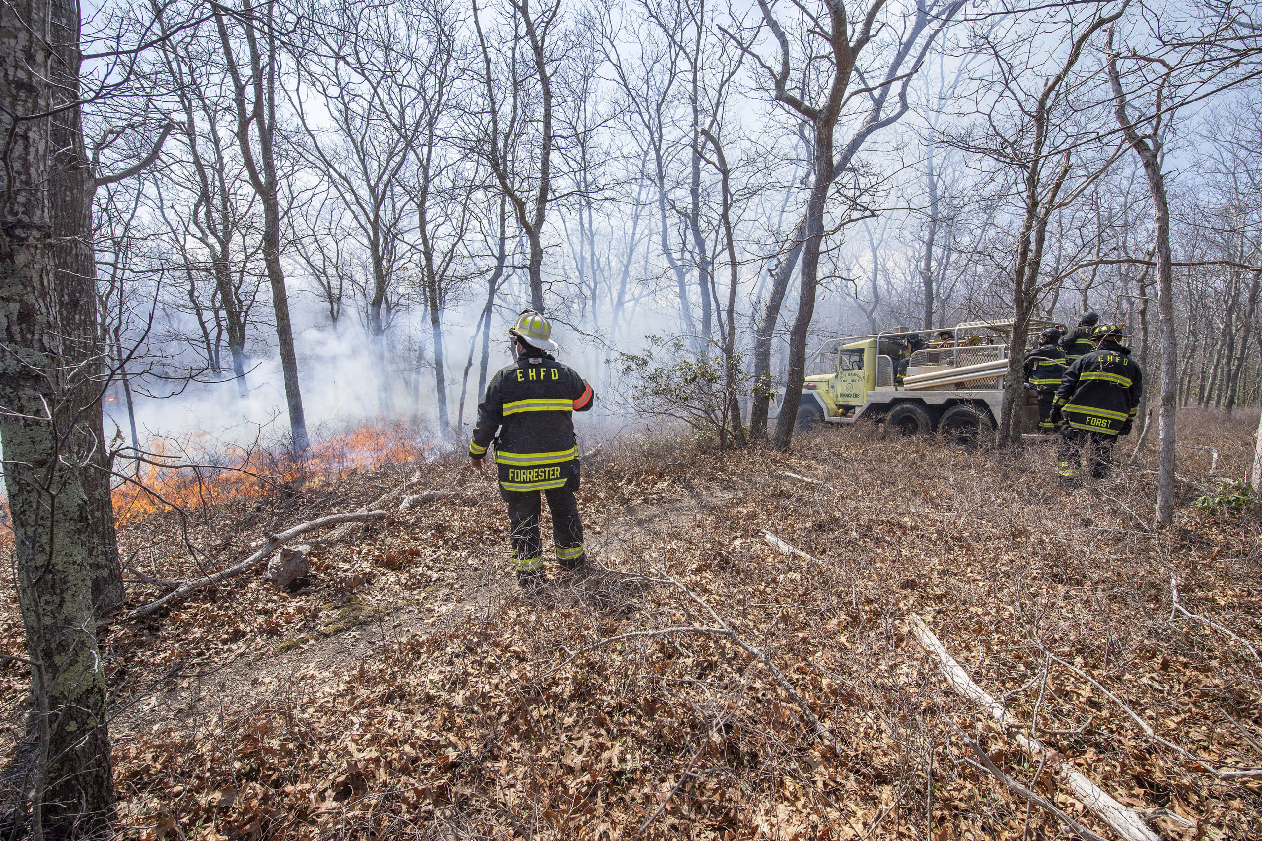 Fighting the brush fire.
