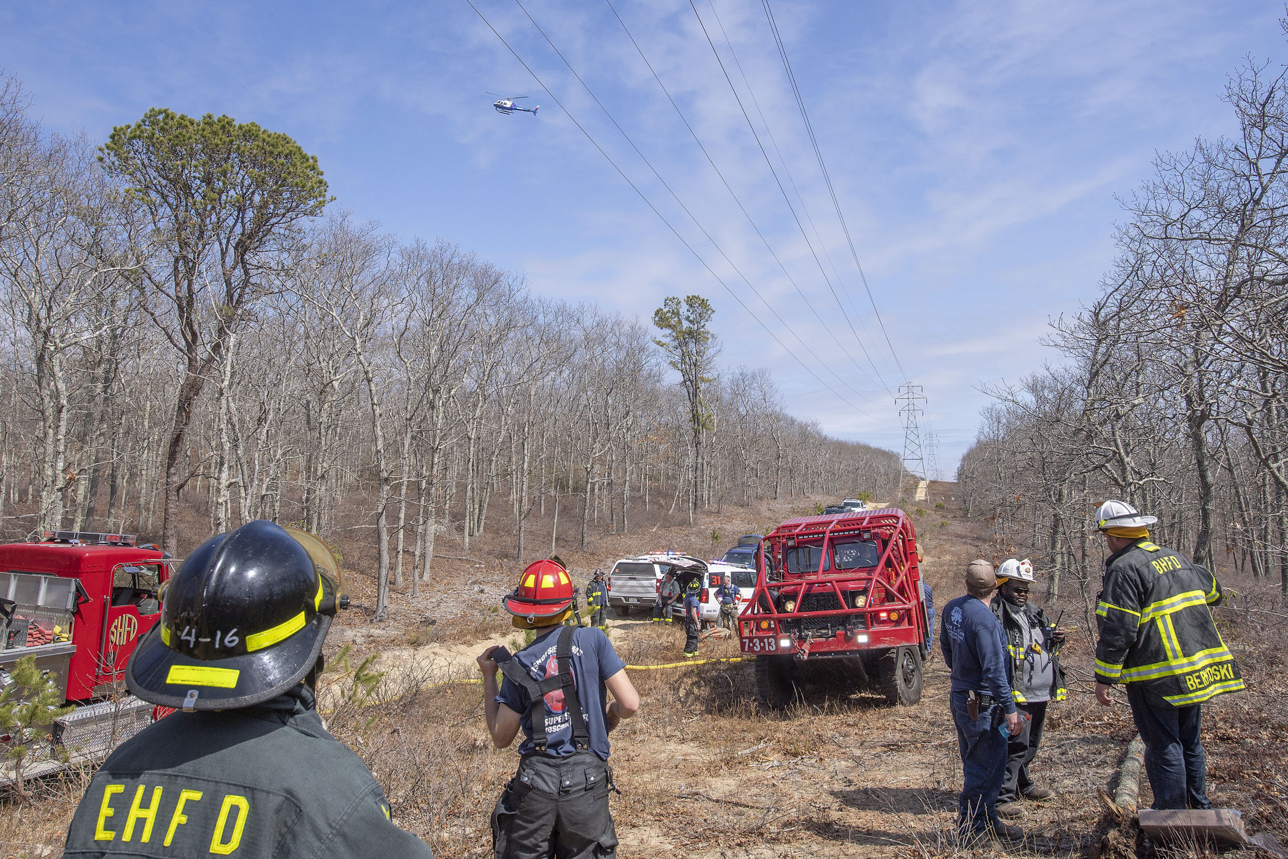 The county's helicopter checked for smoldering hot spots after the fire was out.