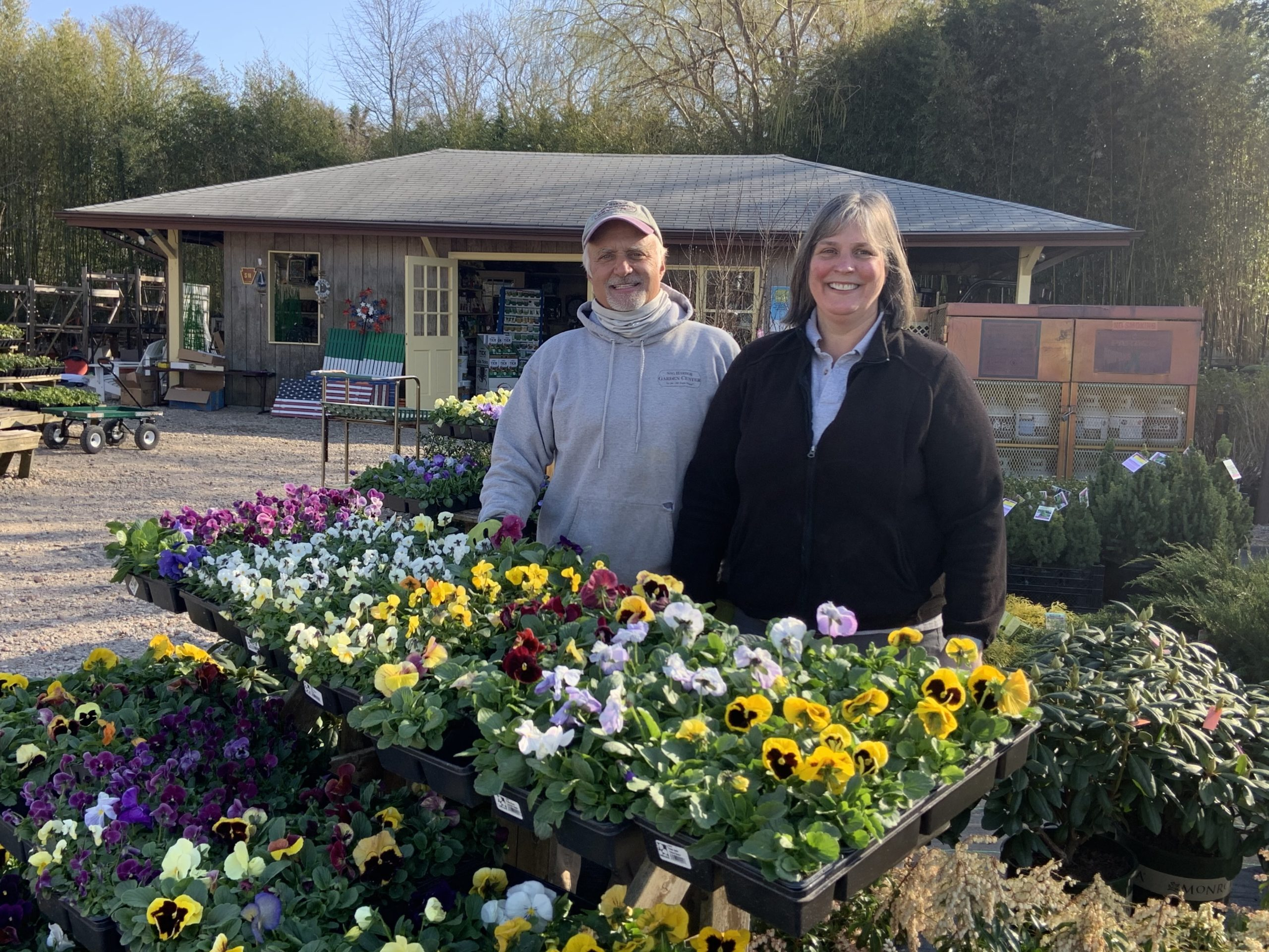 Phil and Diane Bucking are celebrating their 25th year as the owners of the Sag Harbor Garden Center. STEPHEN J. KOTZ