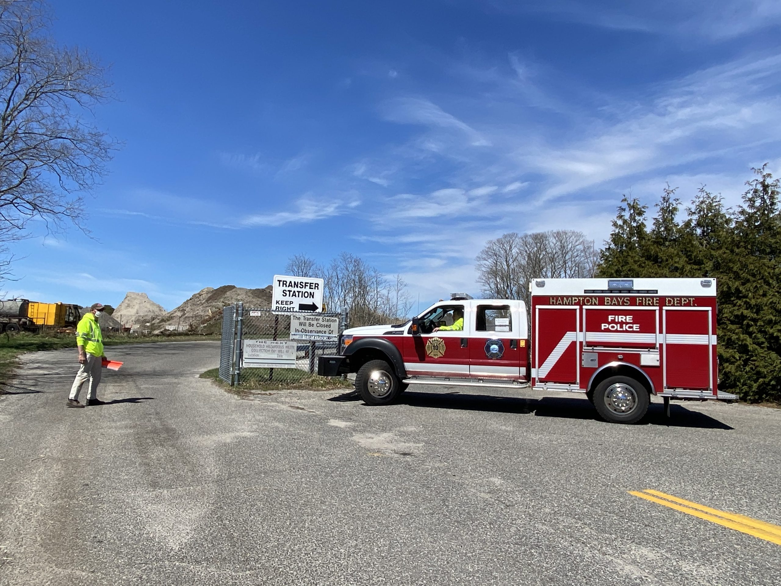 The Hampton Bays transfer station is closed as officials work to determine the cause of the fire there.