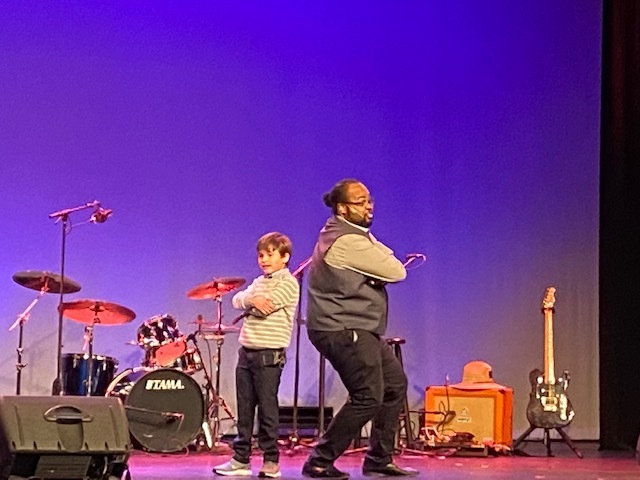 Jonah Alvillar performing with WHBPAC manager Justin Harris.