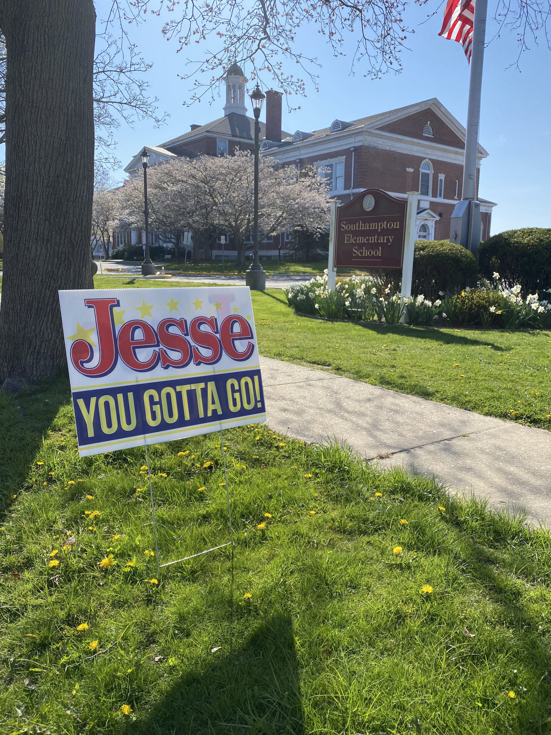 """Signs stating, """"Jesse, You Gotta Go,"""" aimed at incumbent Southampton Village Mayor Jesse Warren, cropped up overnight on public property in the village this weekend.       COURTESY JESSE WARREN"""