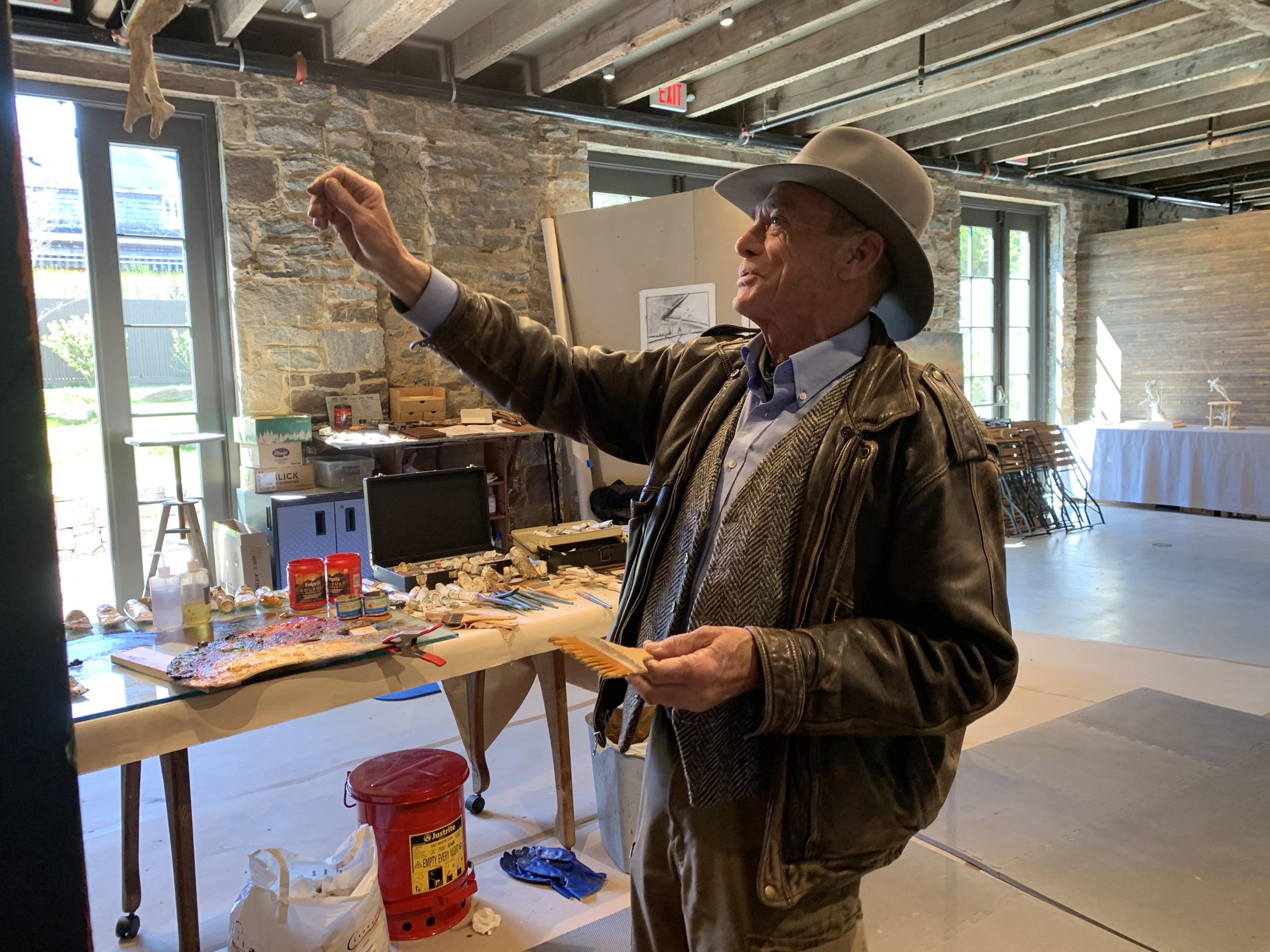 Artist Jim Gingerich working in The Church.