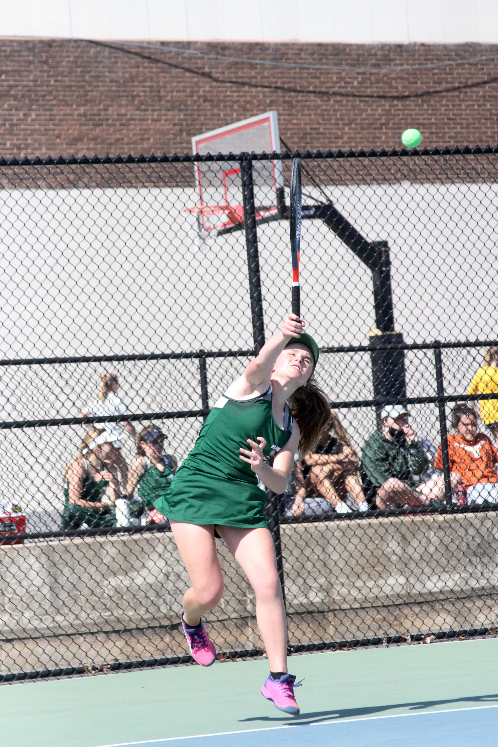 Westhampton Beach freshman Julia Stabile serves the ball in the Division IV doubles finals.