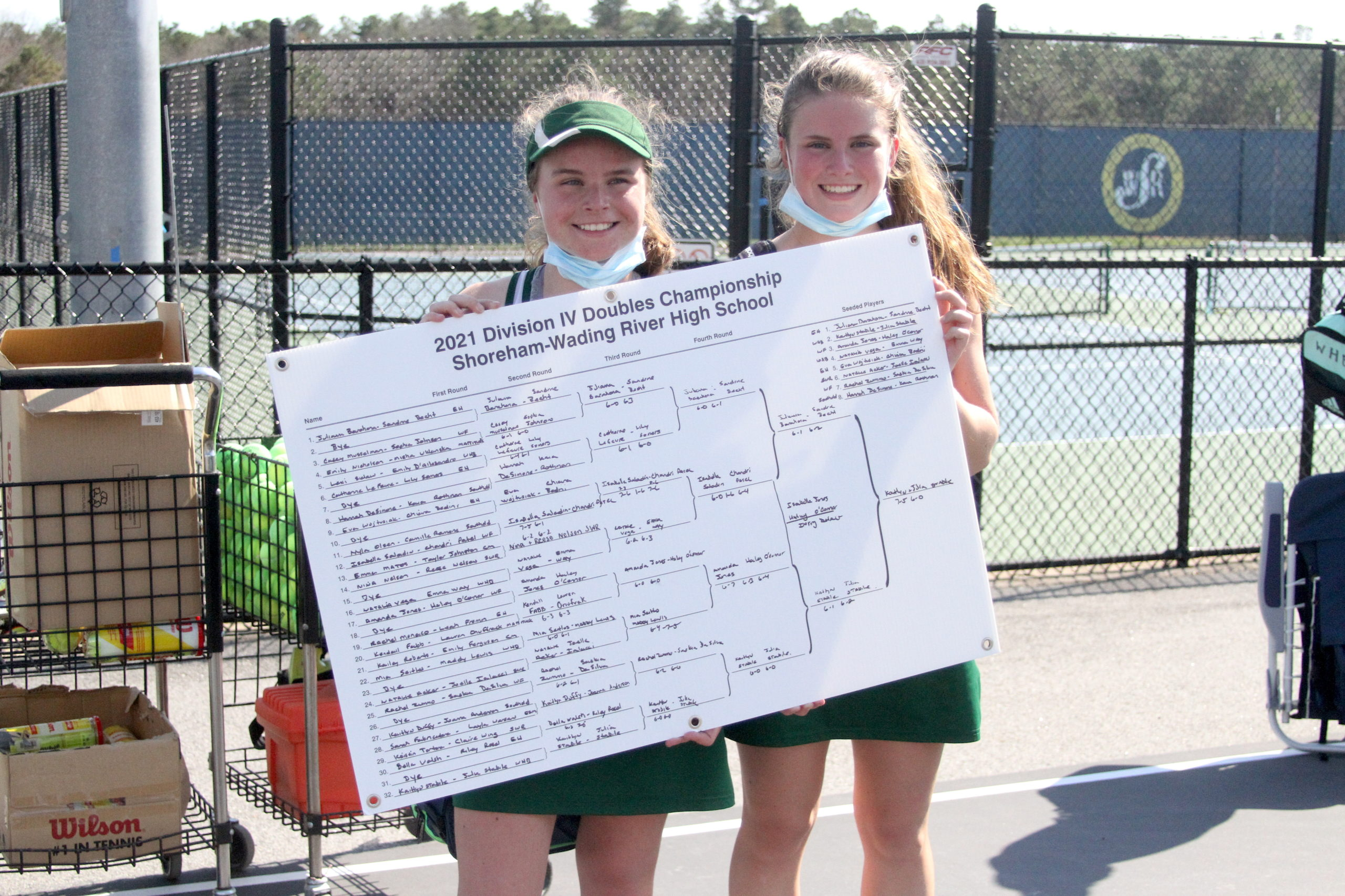 Westhampton Beach sisters and No. 2-seeded doubles duo Julia and Katelyn Stabile won the Division IV doubles tournament on Tuesday.