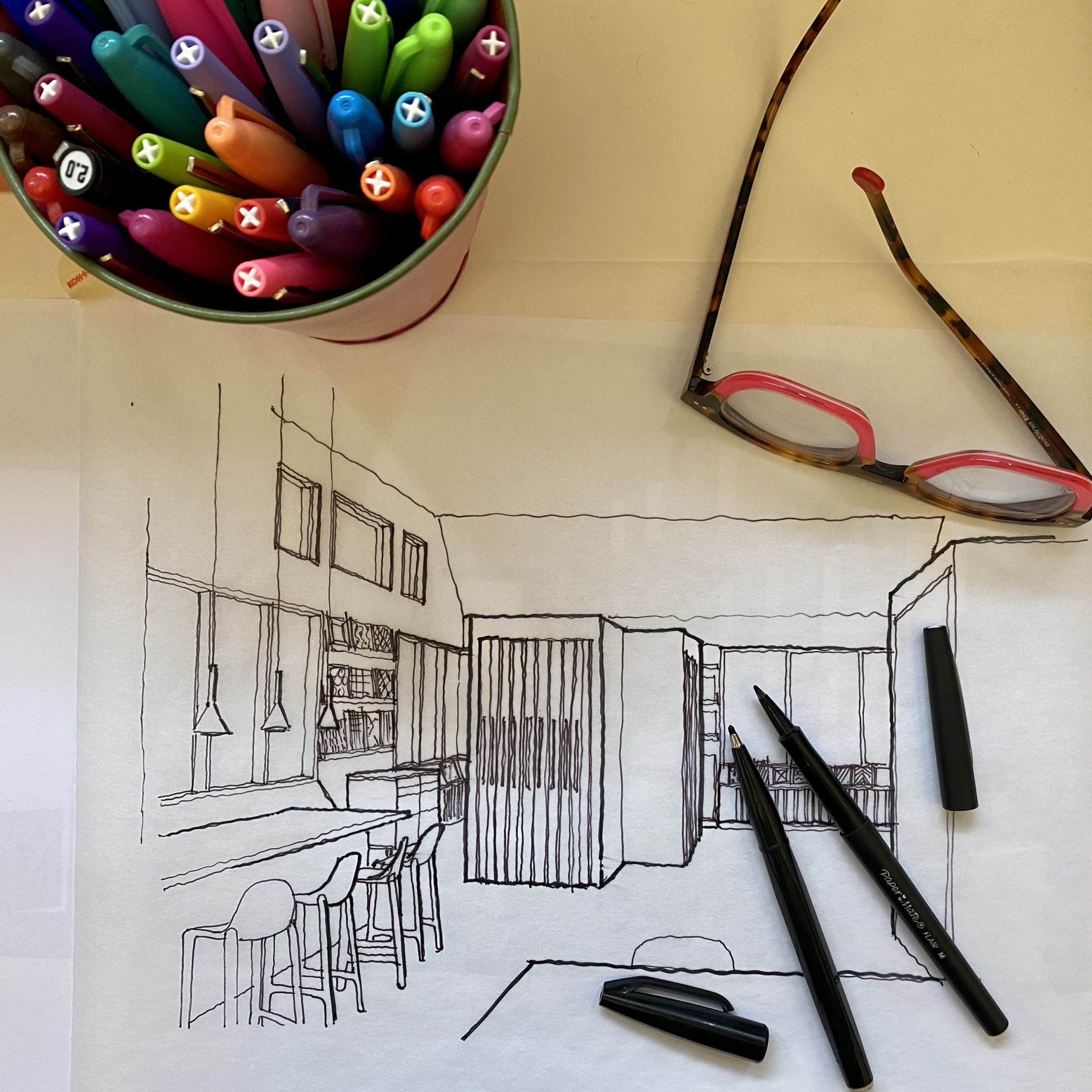 A sketch of the planned interior of the Nemo Tile + Stone showroom in Southampton.
