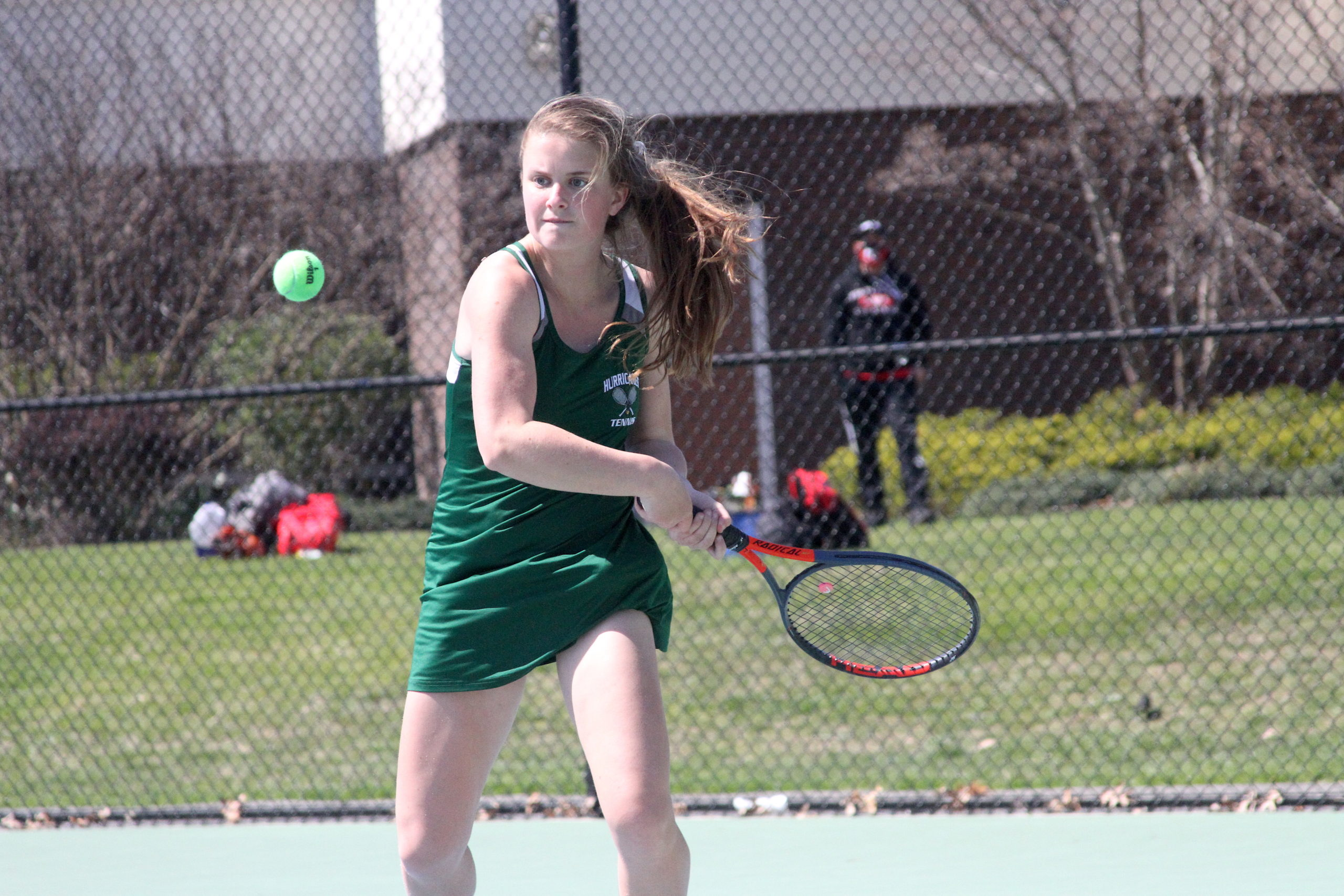 Westhampton Beach junior Katelyn Stabile keeps her eyes on the ball in her doubles team's quarterfinal matchup.