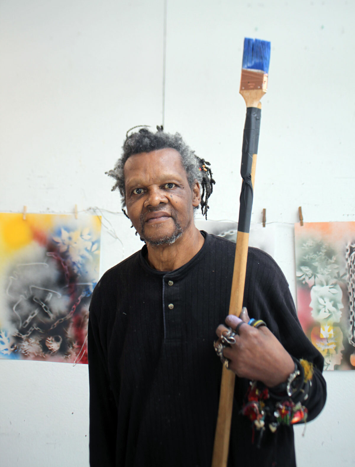 Lonnie Holley during his recent residency at the Elaine de Kooning House in East Hampton.