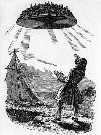 Gulliver discovers Laputa, the floating/flying island in an 1856 illustration by J. J. Grandville.