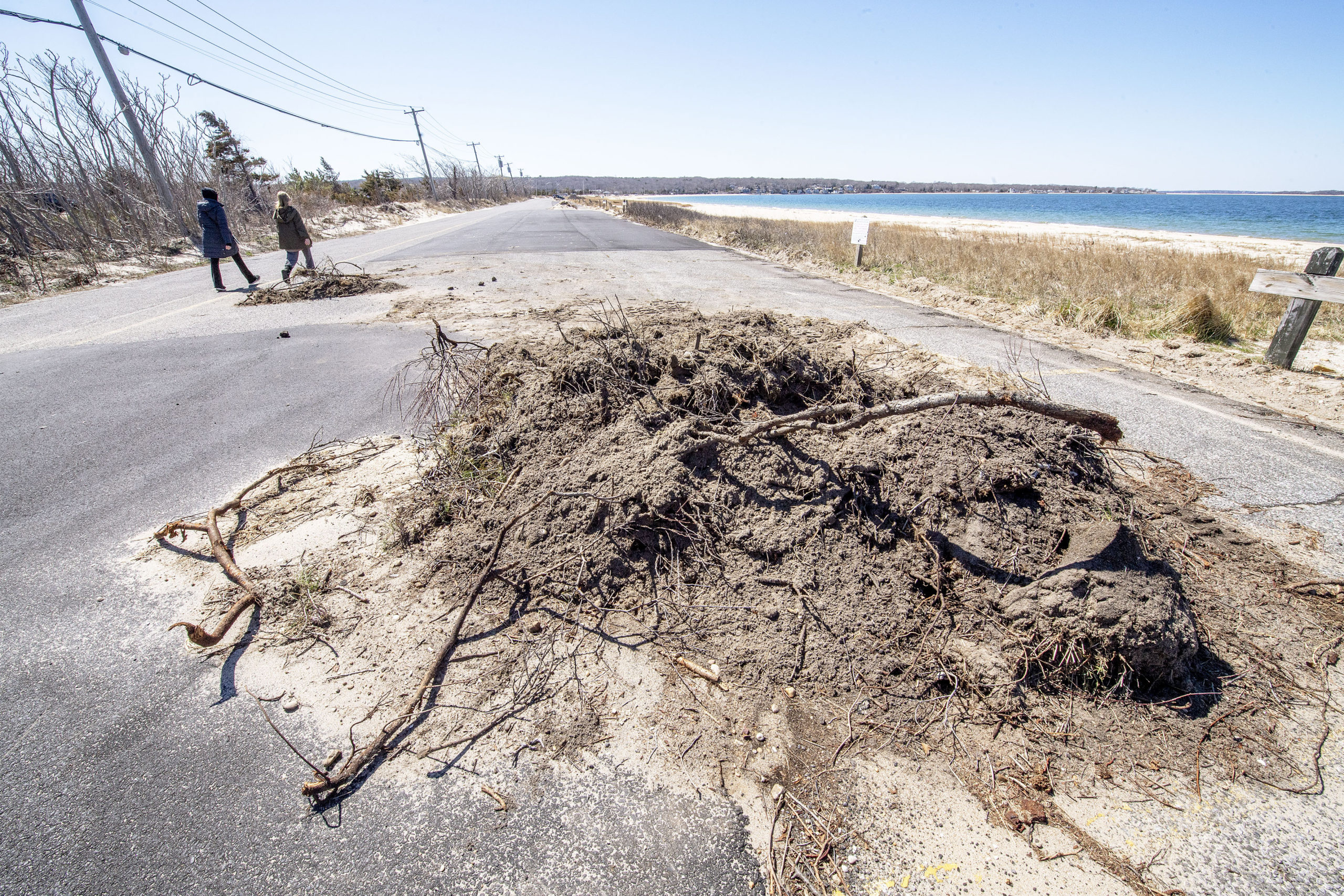 The clearing of vegetation along the border of the parking lot at Long Beach in Noyac has resulted in demands that the area be restored. MICHAEL HELLER